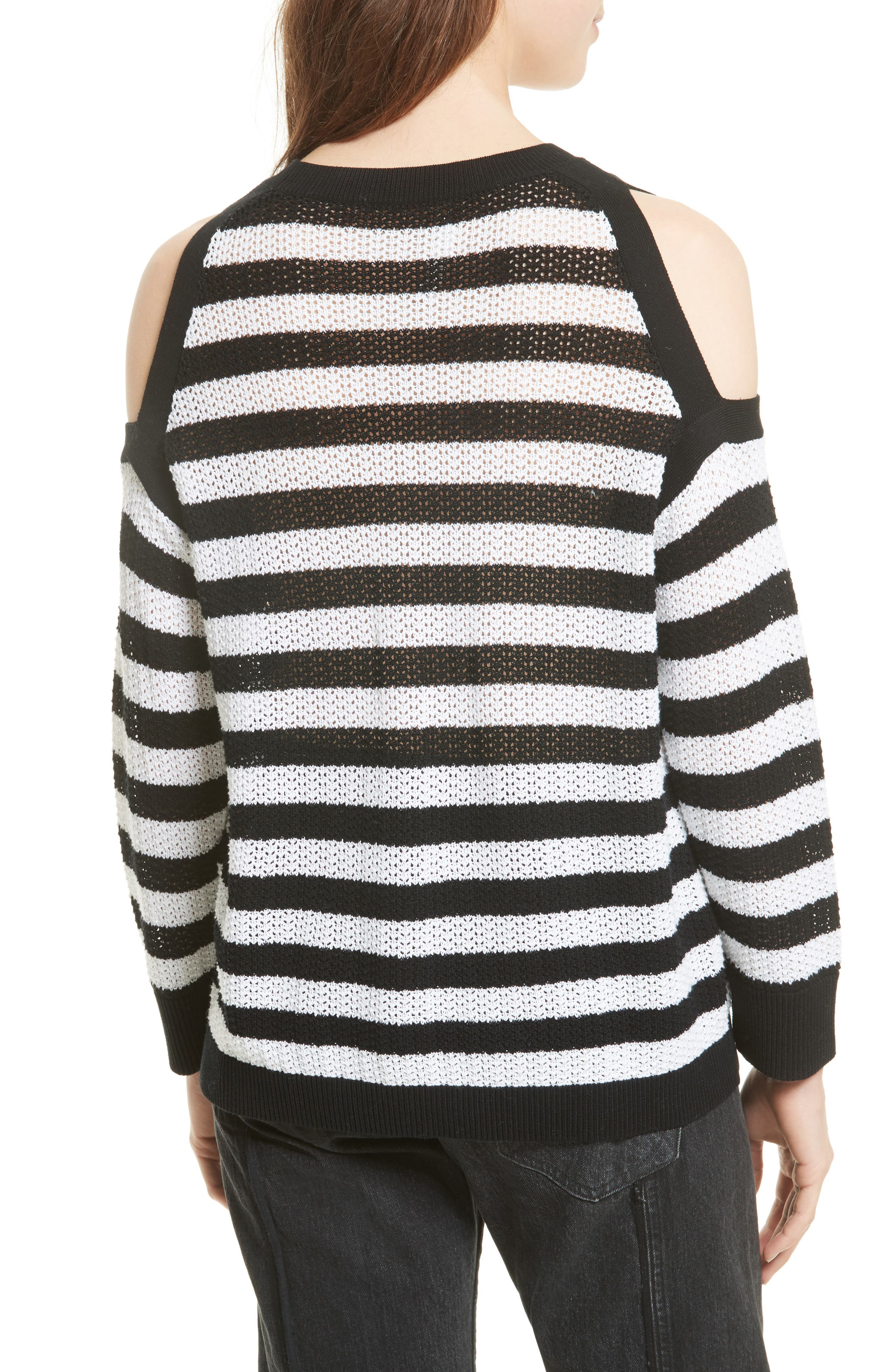 Tracey Cold Shoulder Cotton Sweater,                             Alternate thumbnail 2, color,                             Black/ White