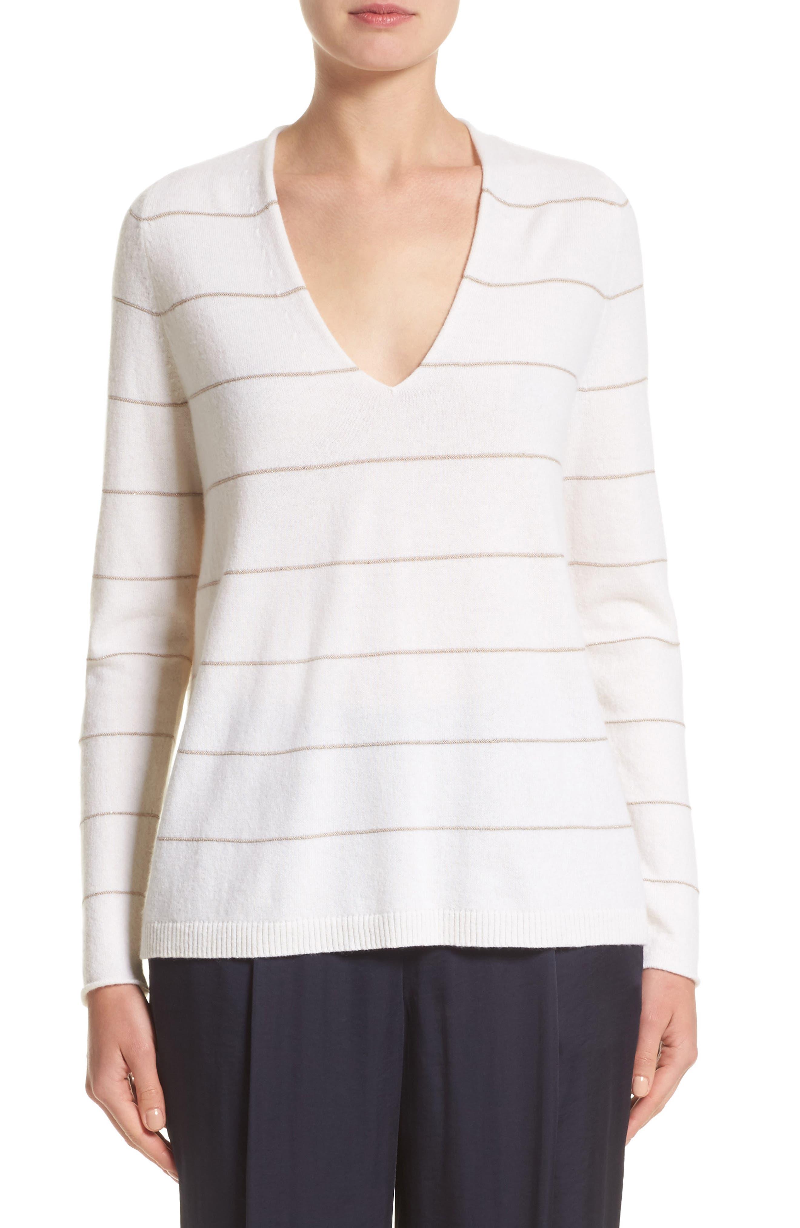 LAFAYETTE 148 NEW YORK Stripe Cashmere & Silk V-Neck Sweater