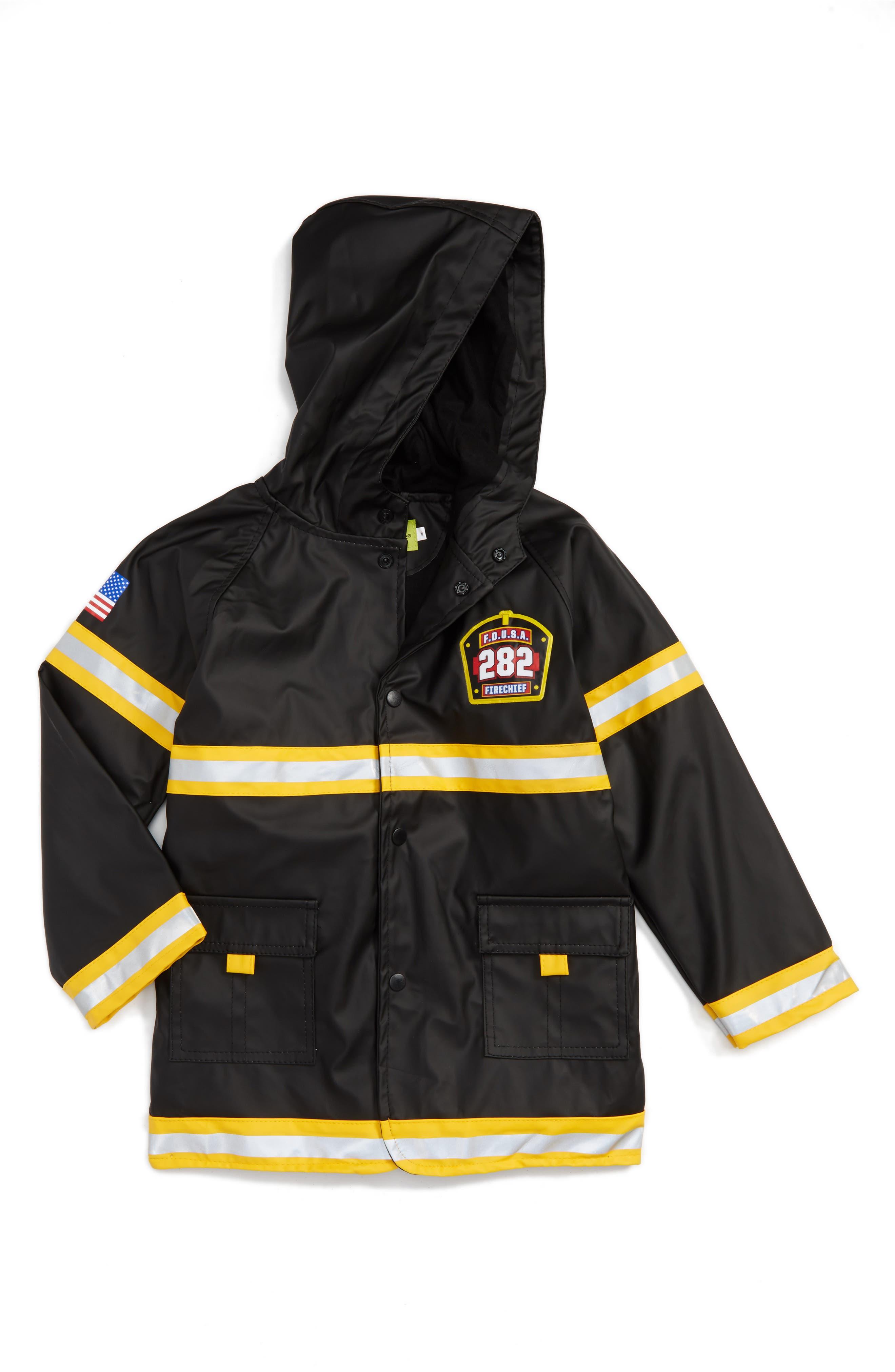 Fire Chief Raincoat,                         Main,                         color, Black