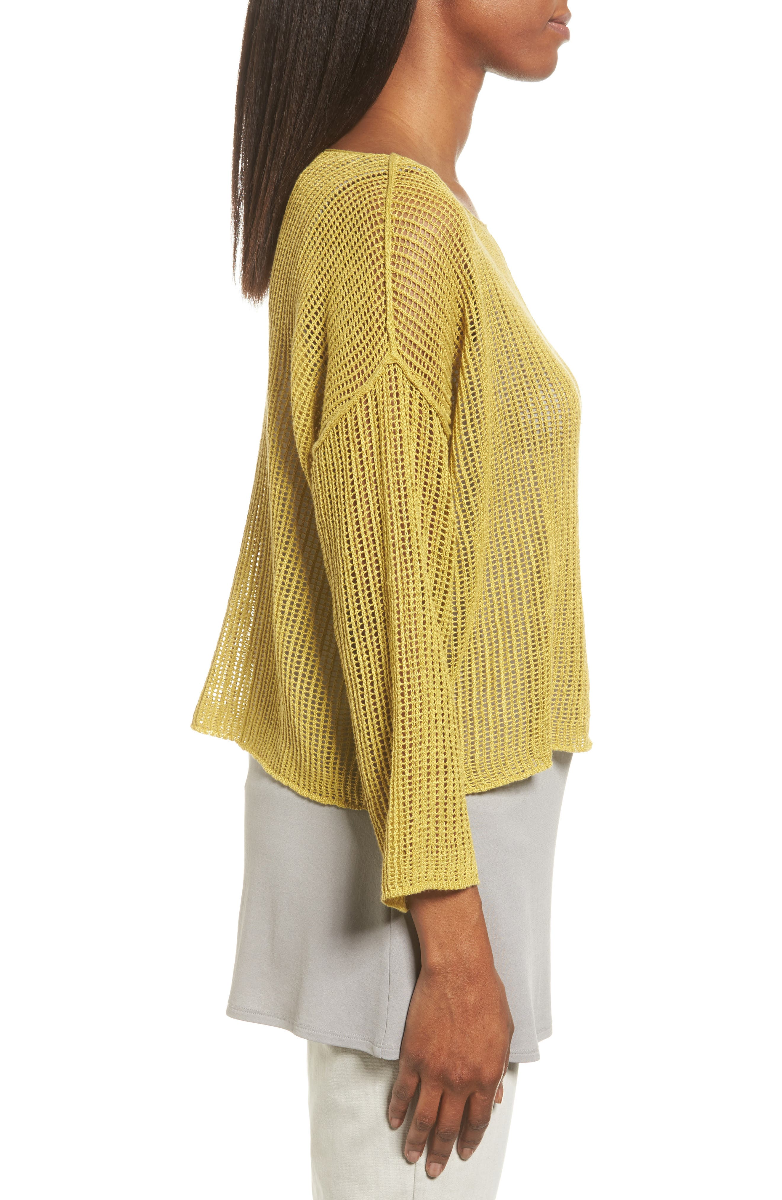 Organic Linen Crop Sweater,                             Alternate thumbnail 3, color,                             Papyrus