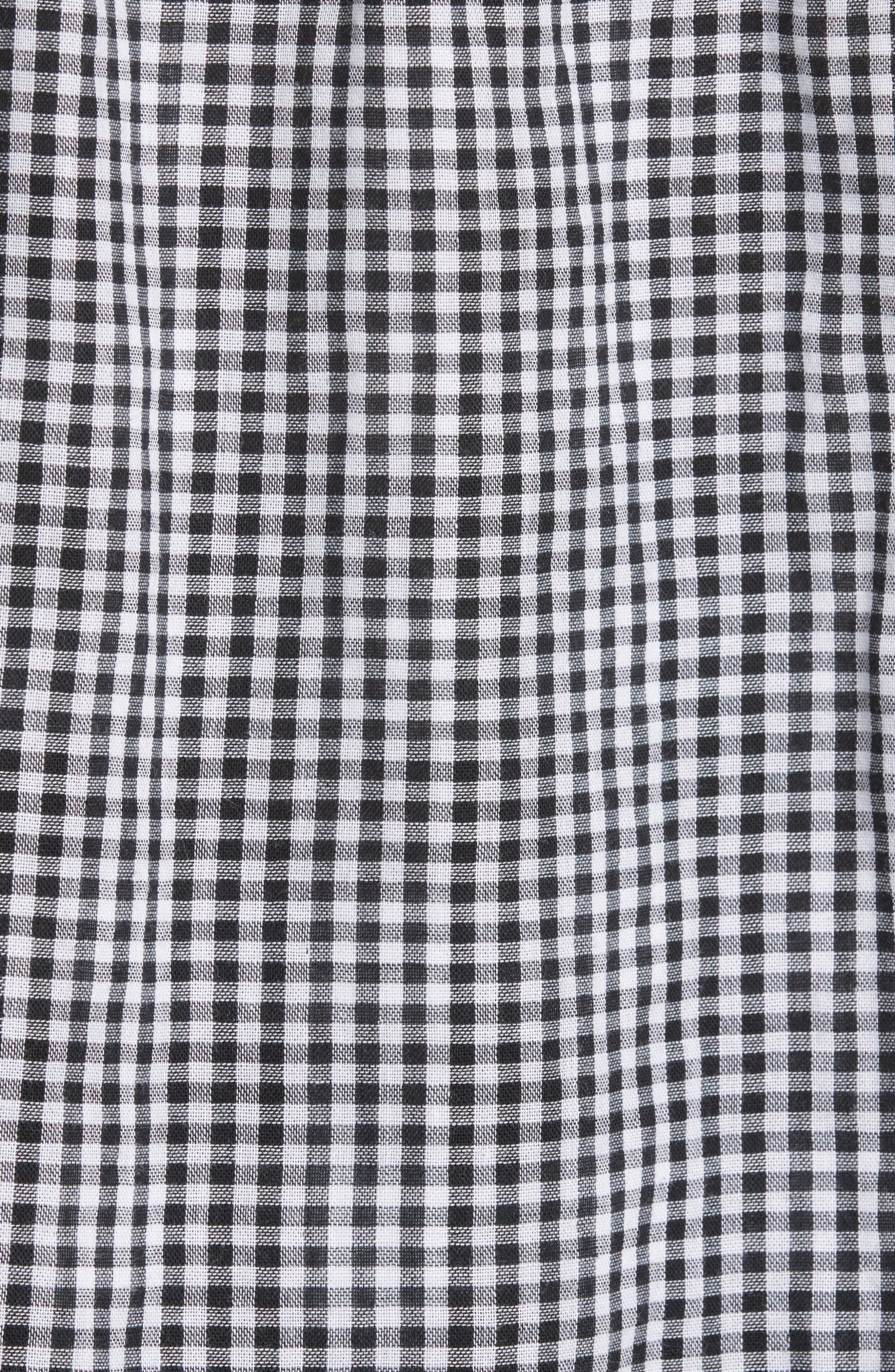 Drew Gingham Off the Shoulder Top,                             Alternate thumbnail 4, color,                             Black/ White