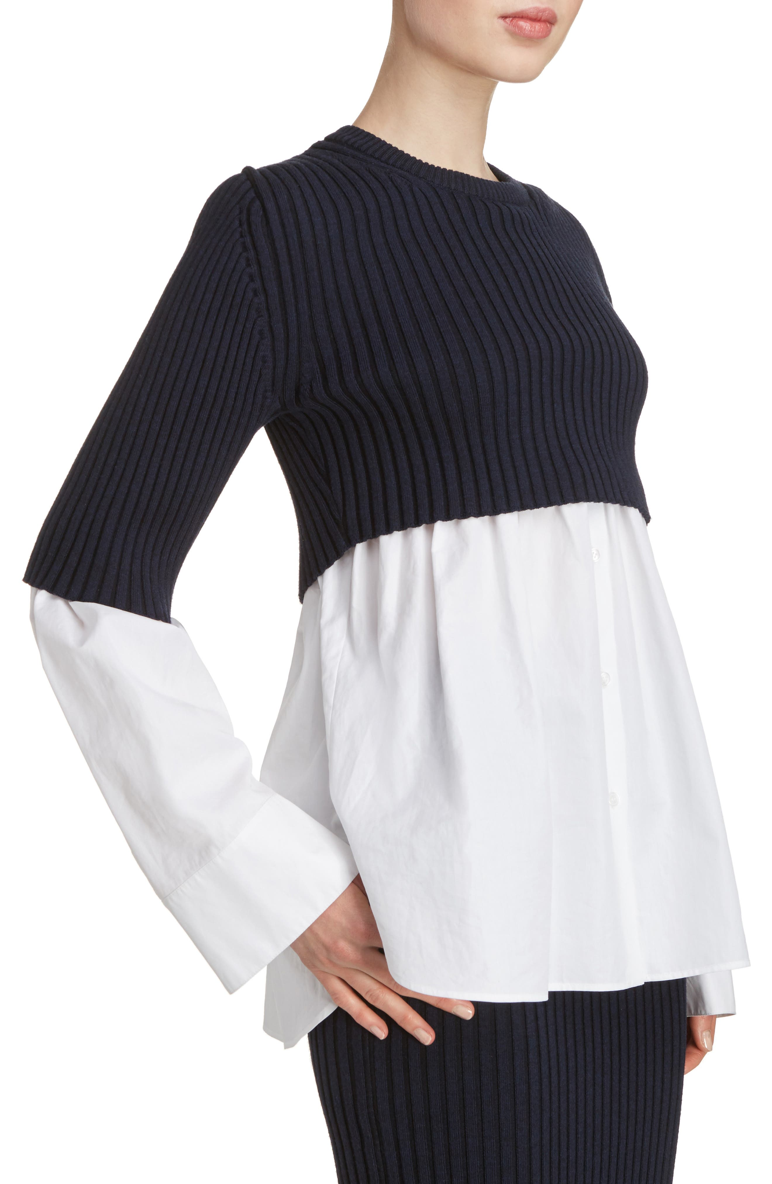 Alternate Image 5  - KENZO Knit Overlay Cotton Blouse