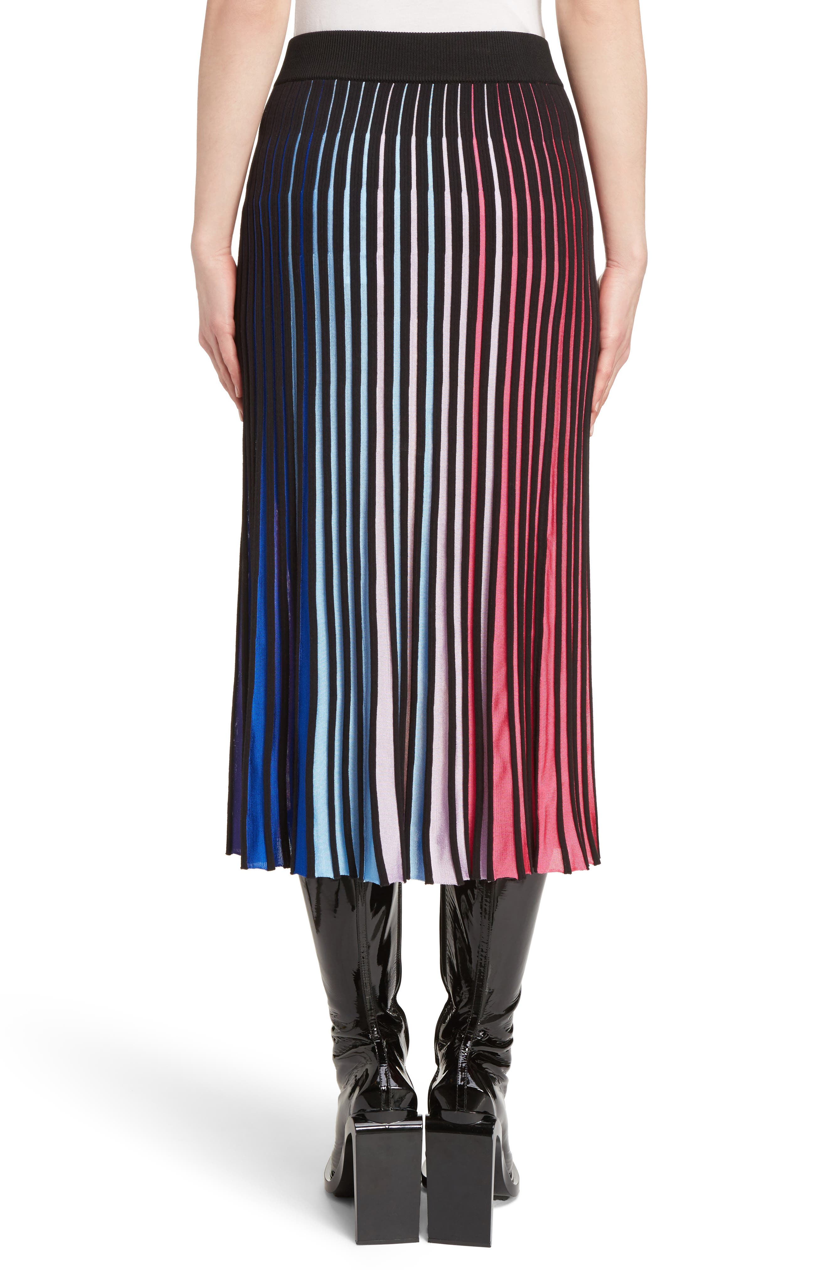 Rib Knit Flare Skirt,                             Alternate thumbnail 3, color,                             Multicolor