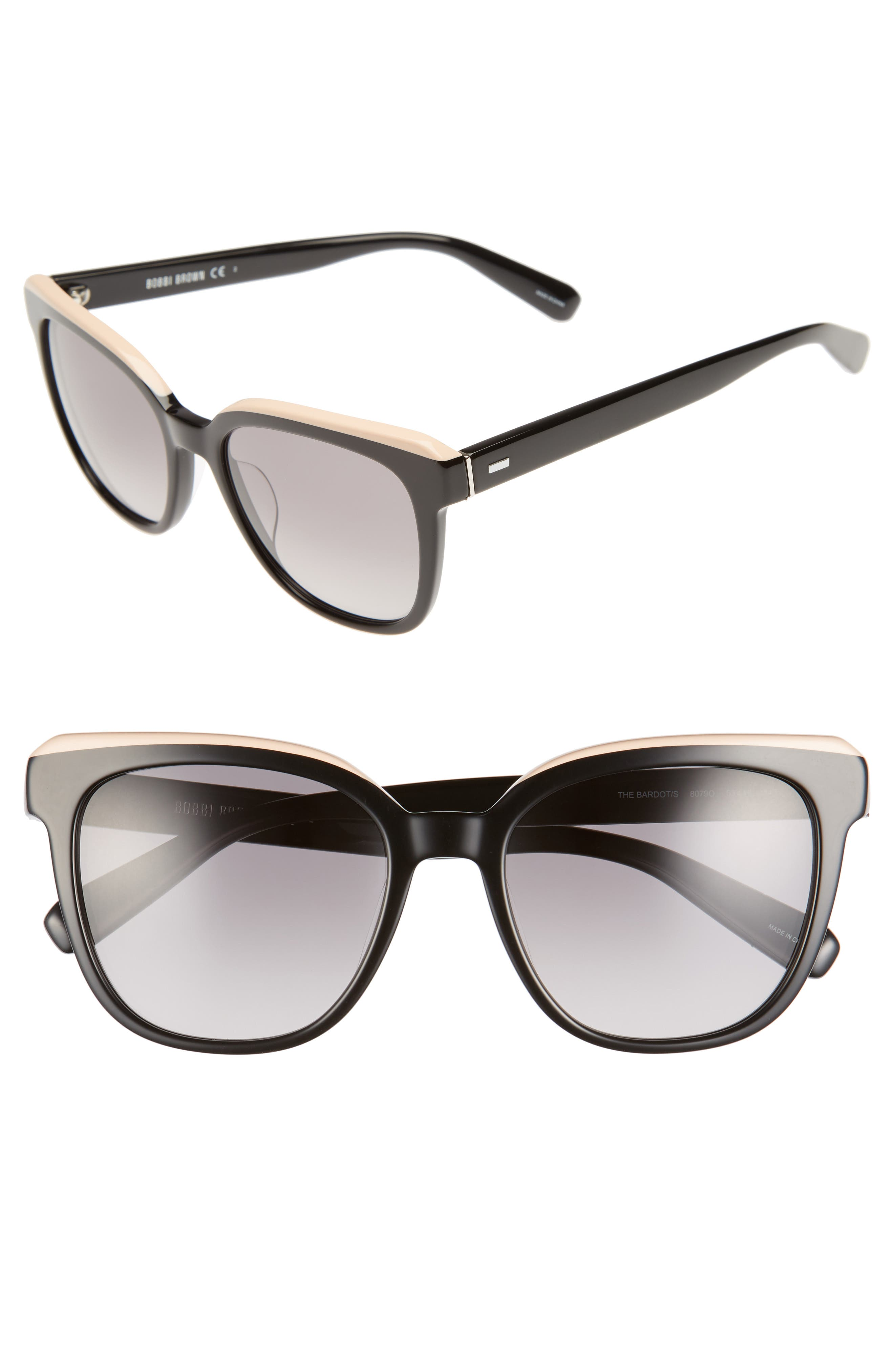 The Bardot 53mm Gradient Sunglasses,                             Main thumbnail 1, color,                             Black