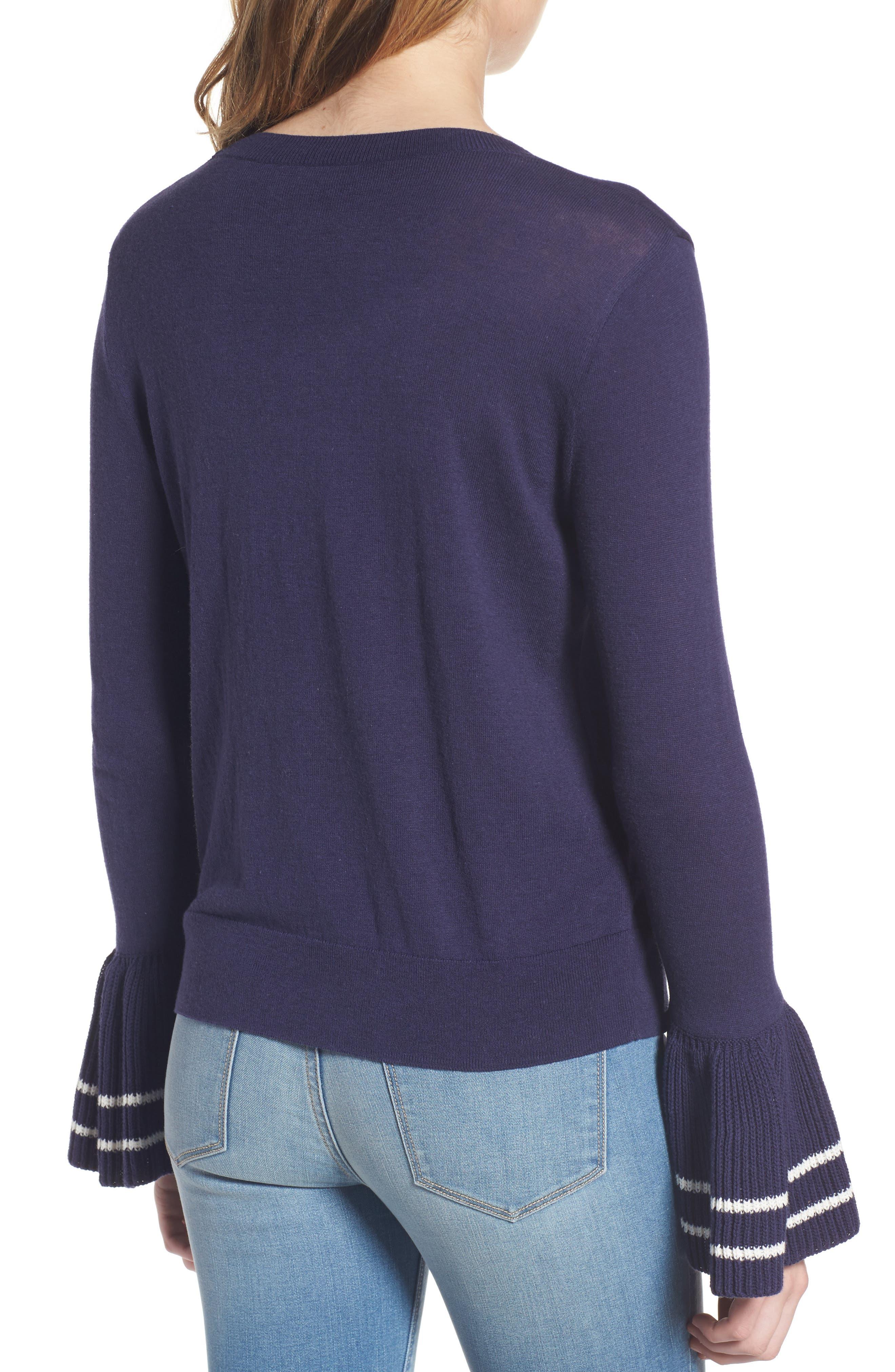 Ruffle Bell Cuff Sweater,                             Alternate thumbnail 2, color,                             Navy Dusk