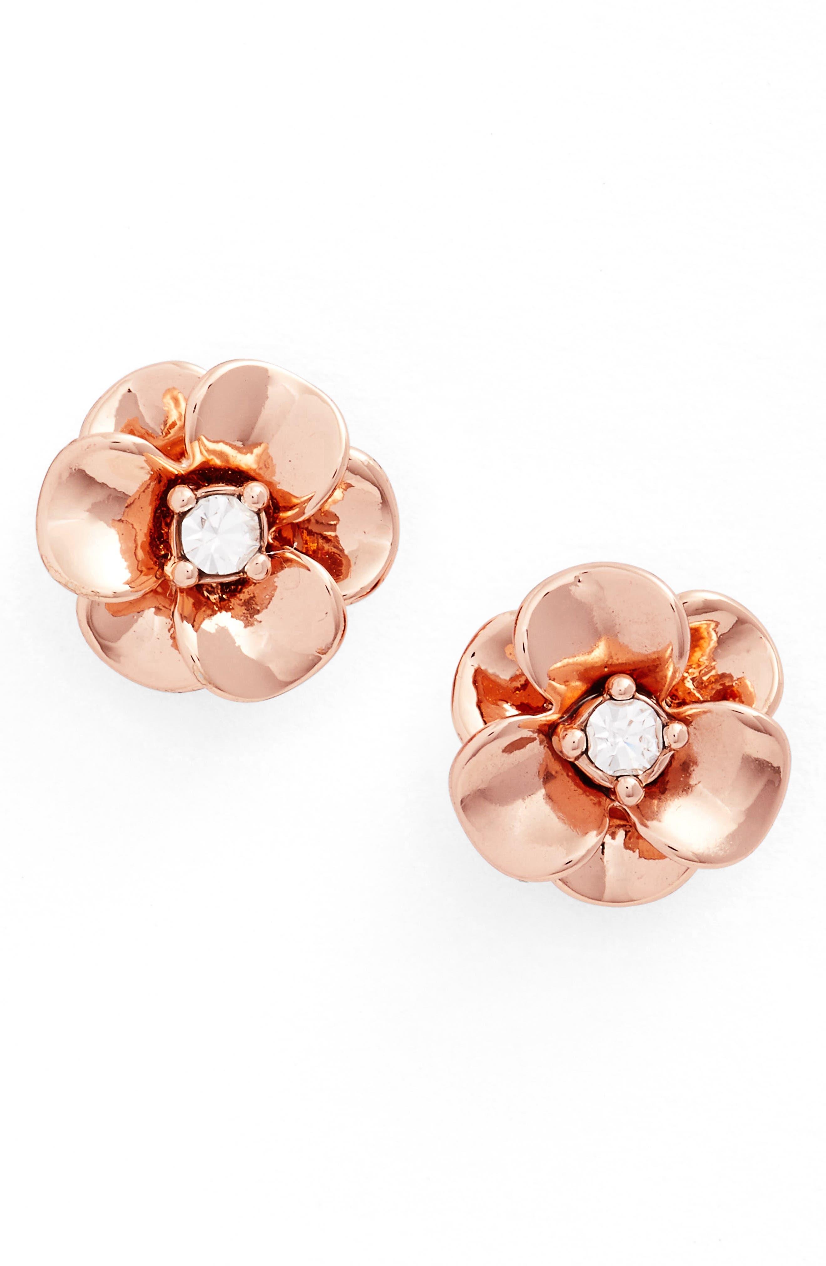 shine on flower stud earrings,                             Main thumbnail 1, color,                             Rose Gold