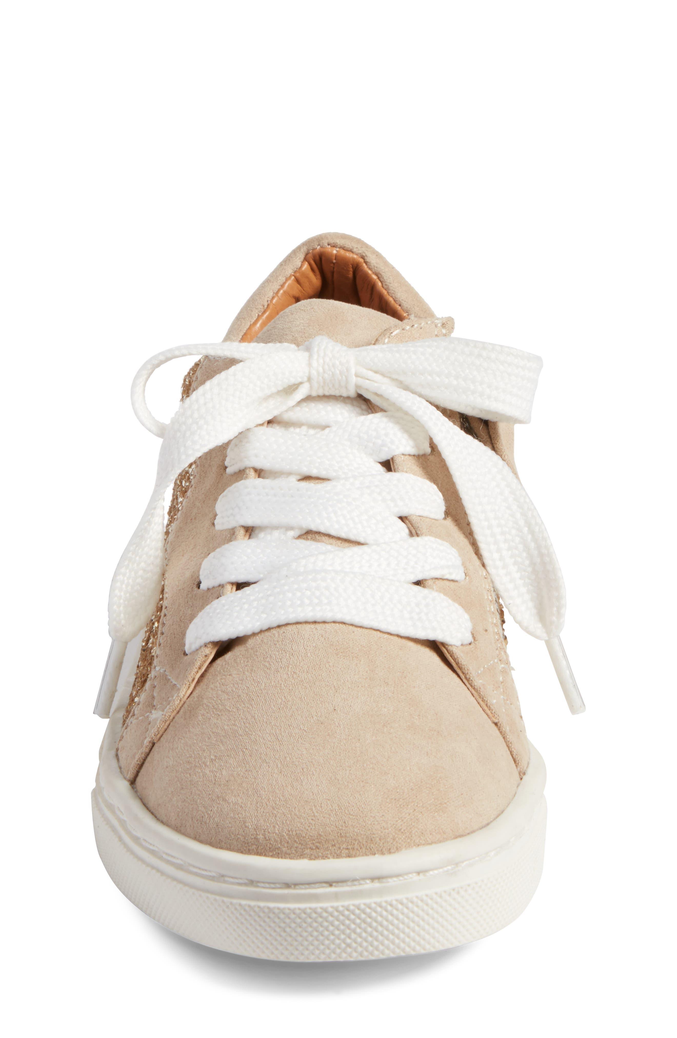 Zaida Low Top Sneaker,                             Alternate thumbnail 4, color,                             Gold Glitter