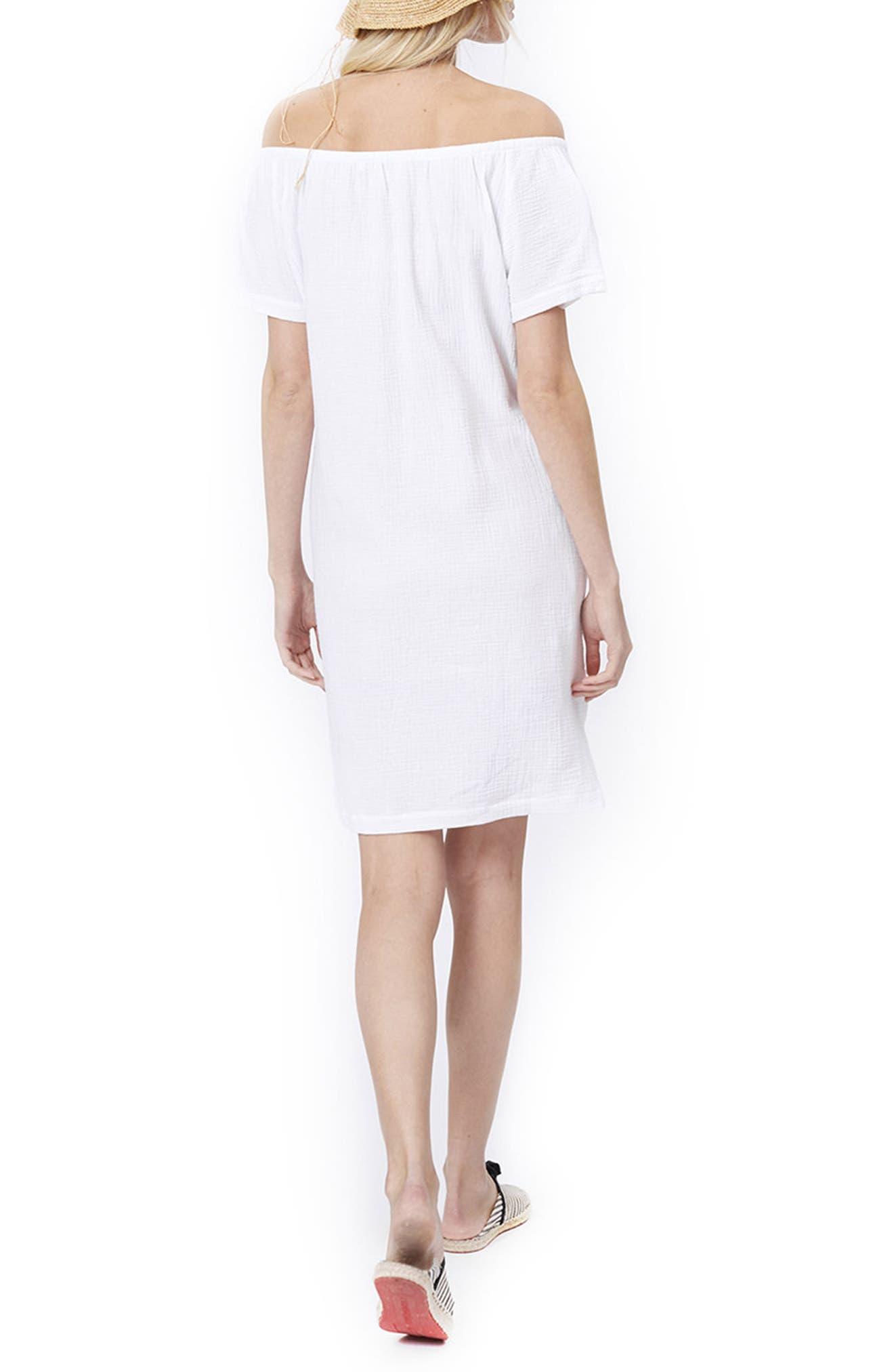 Ariel Off The Shoulder Maternity/Nursing Dress,                             Alternate thumbnail 3, color,                             White