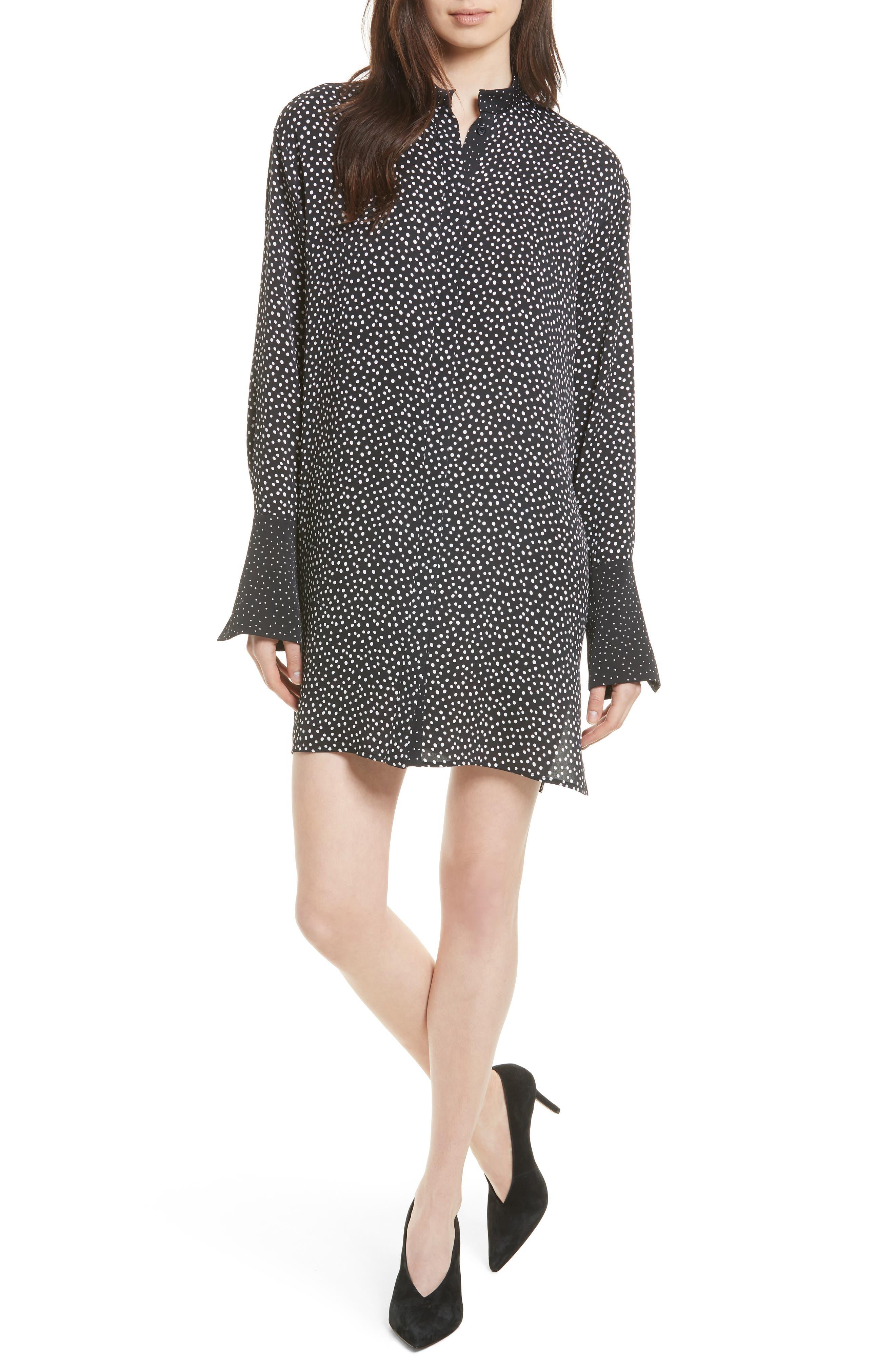 Silk Shirtdress,                             Main thumbnail 1, color,                             Orillon Dot Black