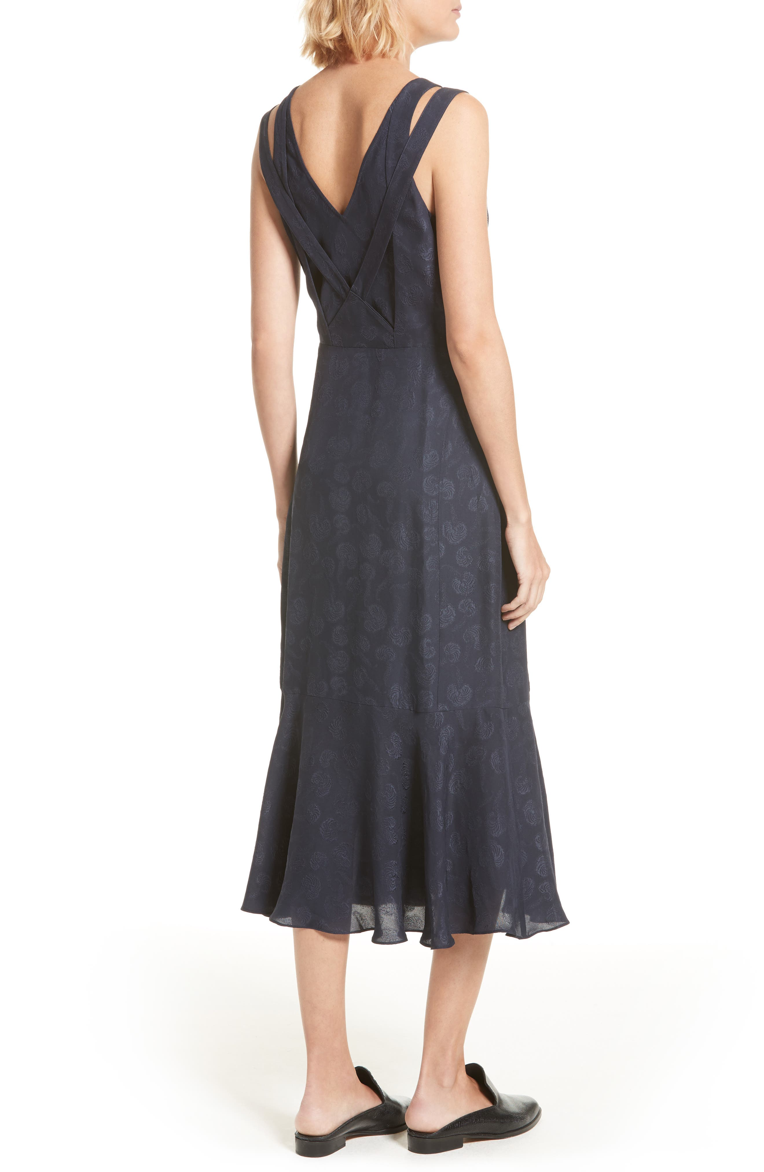 Barbell Detail Silk Jacquard Midi Dress,                             Alternate thumbnail 2, color,                             Midnight