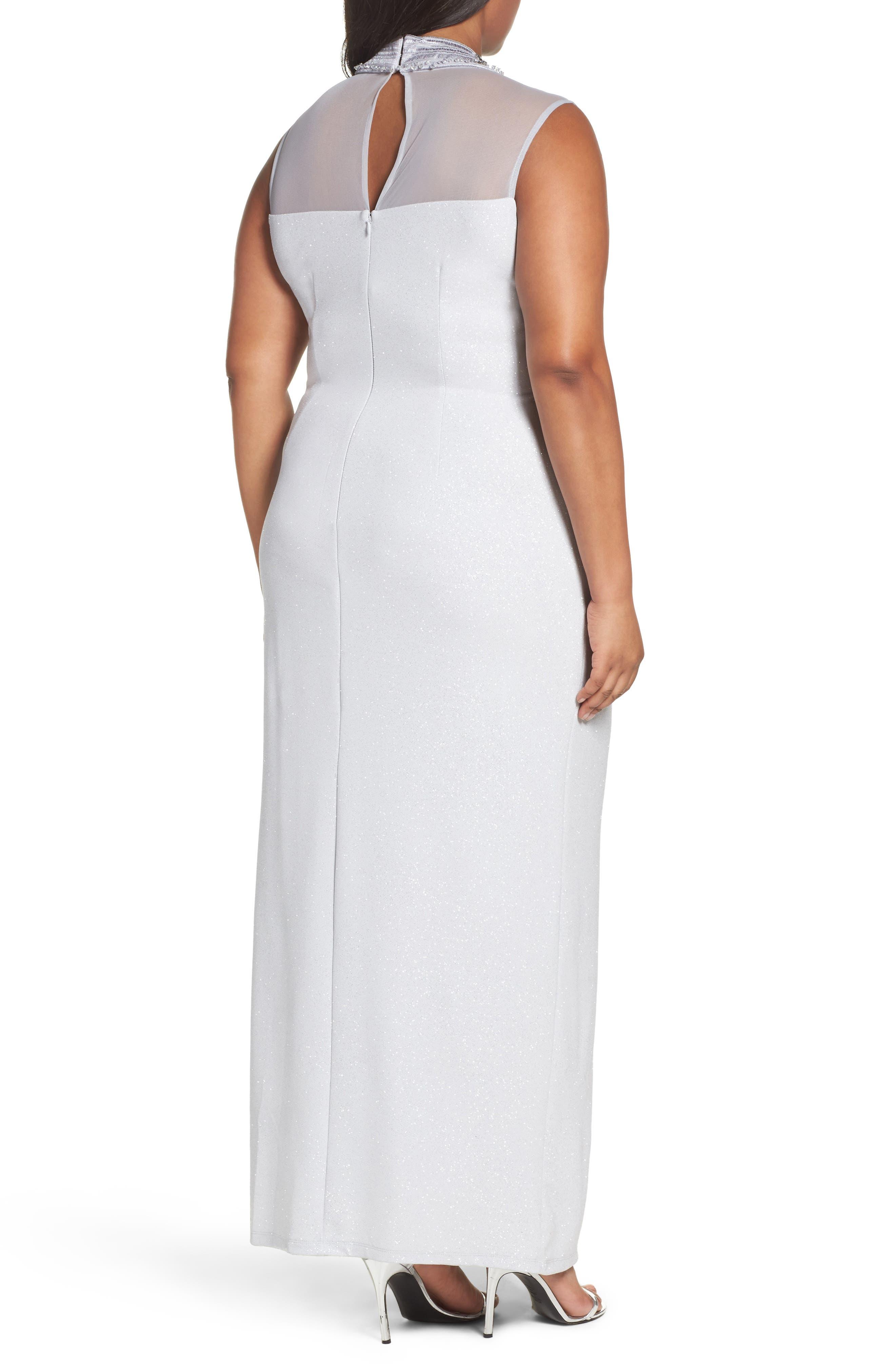 Alternate Image 2  - Marina Glitter Ottoman Knit Sheath Gown (Plus Size)
