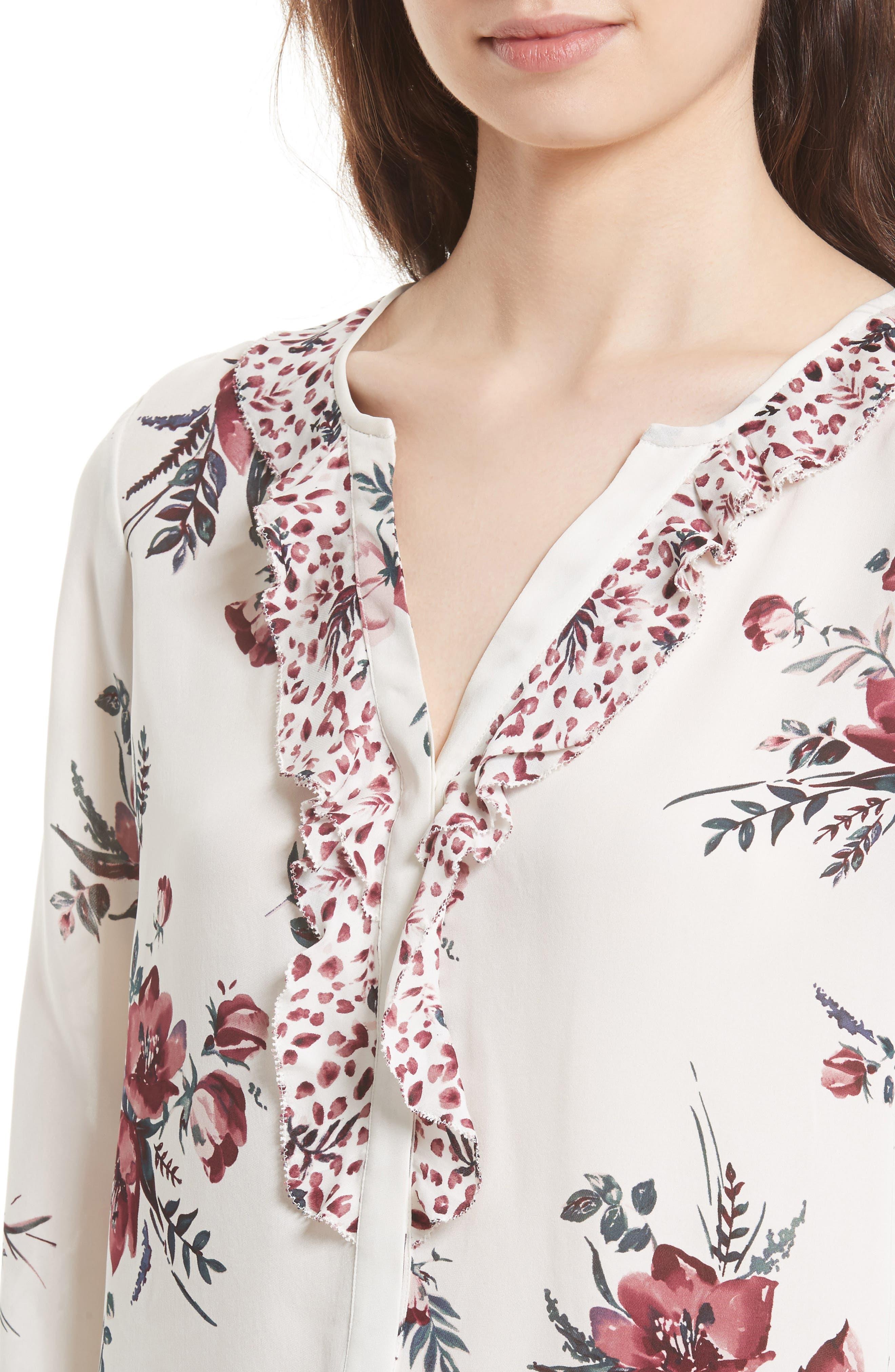 Alternate Image 4  - Joie Jayann B Ruffle Front Floral Silk Blouse