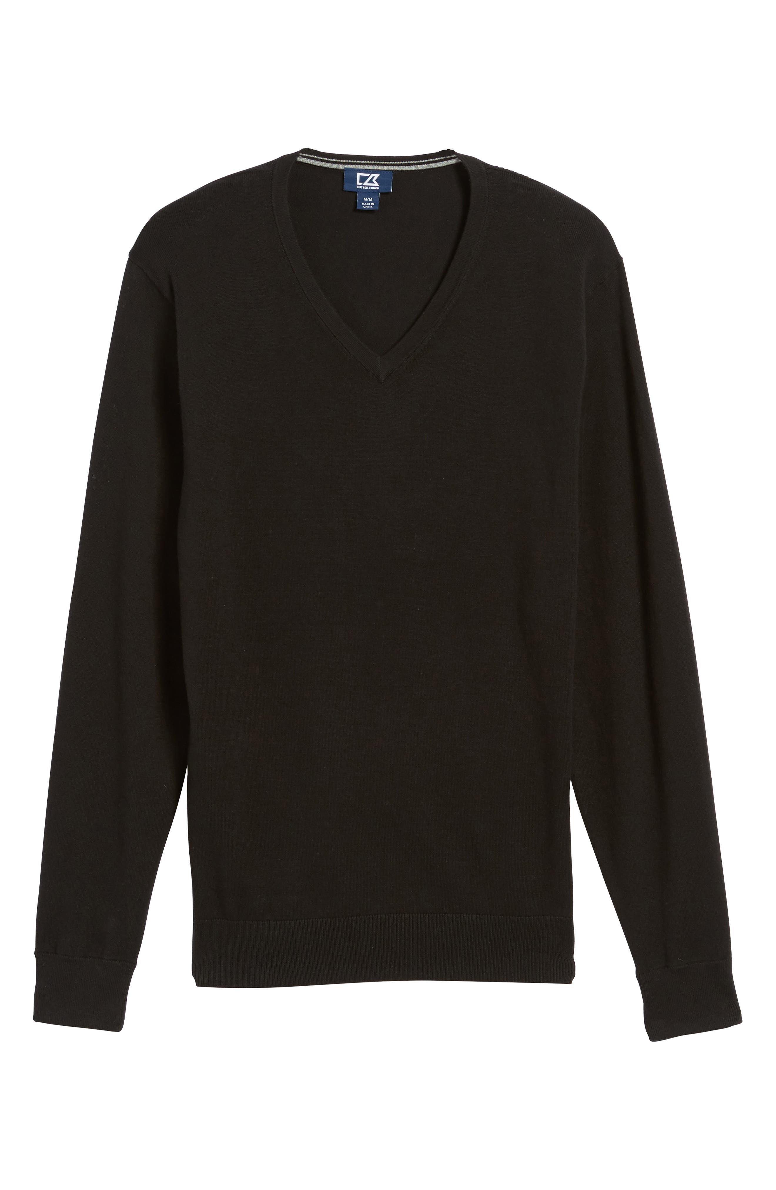 Lakemont V-Neck Sweater,                             Alternate thumbnail 6, color,                             Black