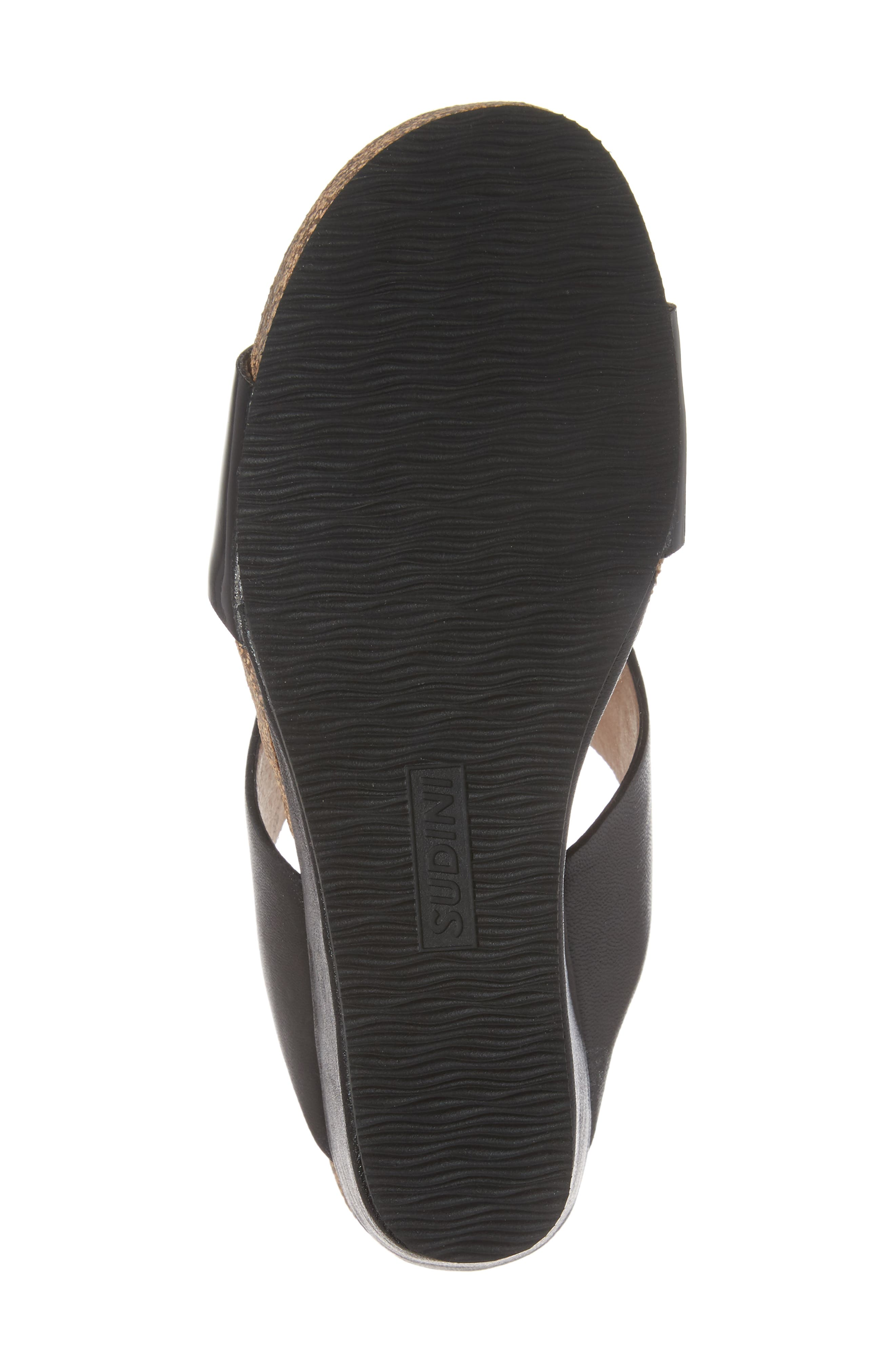 Berta Wedge Sandal,                             Alternate thumbnail 6, color,                             Black Leather