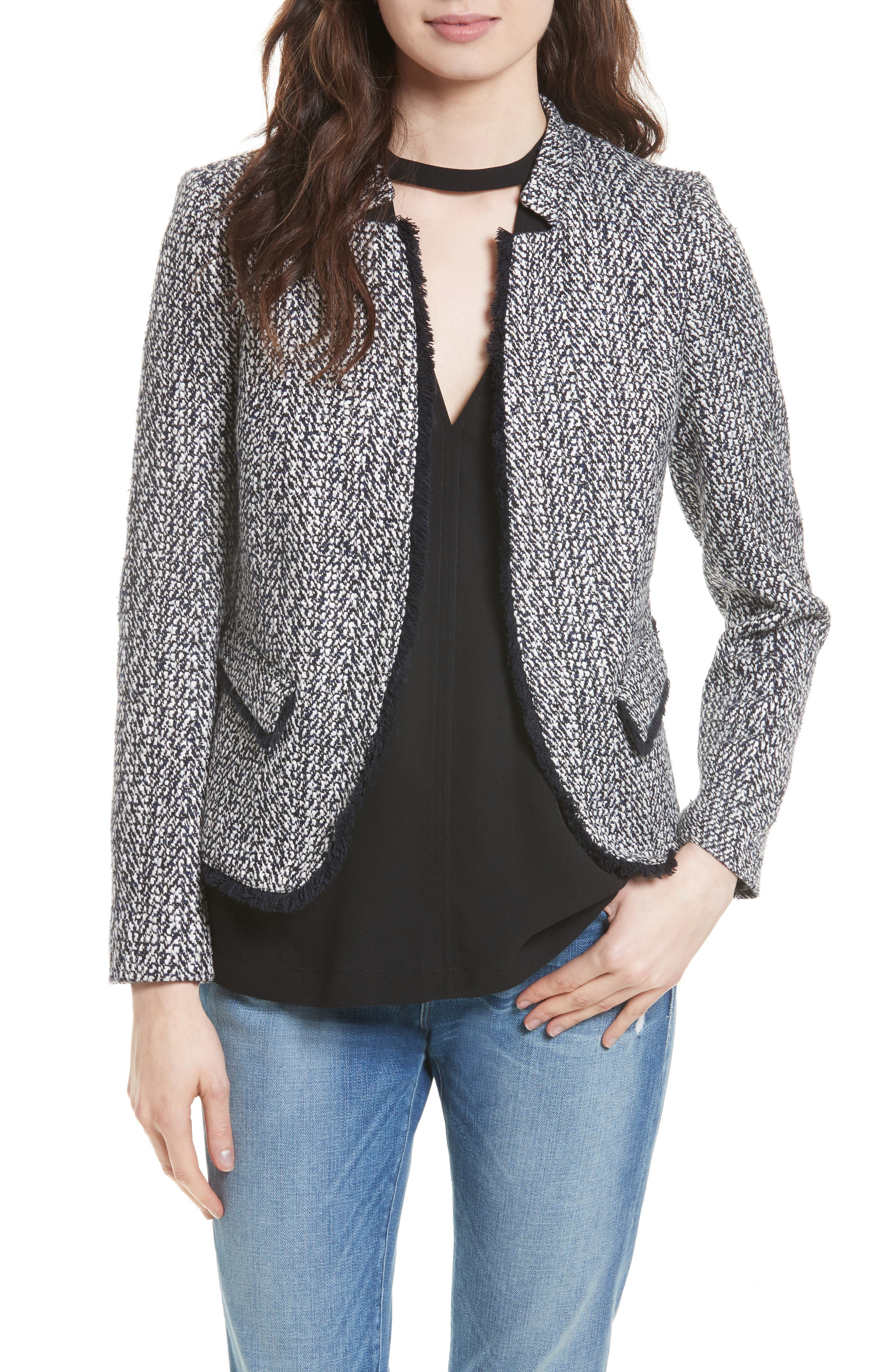 Helene Berman Fringe Trim Tweed Jacket