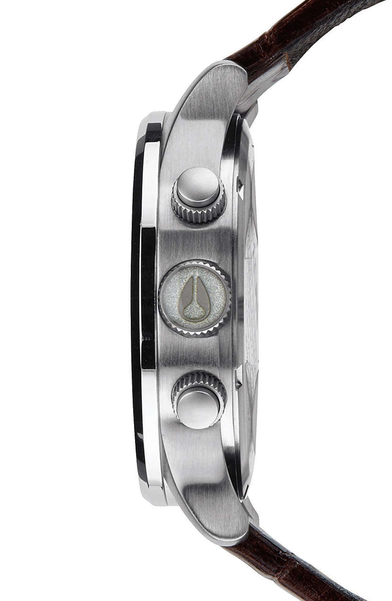 Alternate Image 3  - Nixon 'Sentry Chrono' Embossed Leather Strap Watch, 42mm