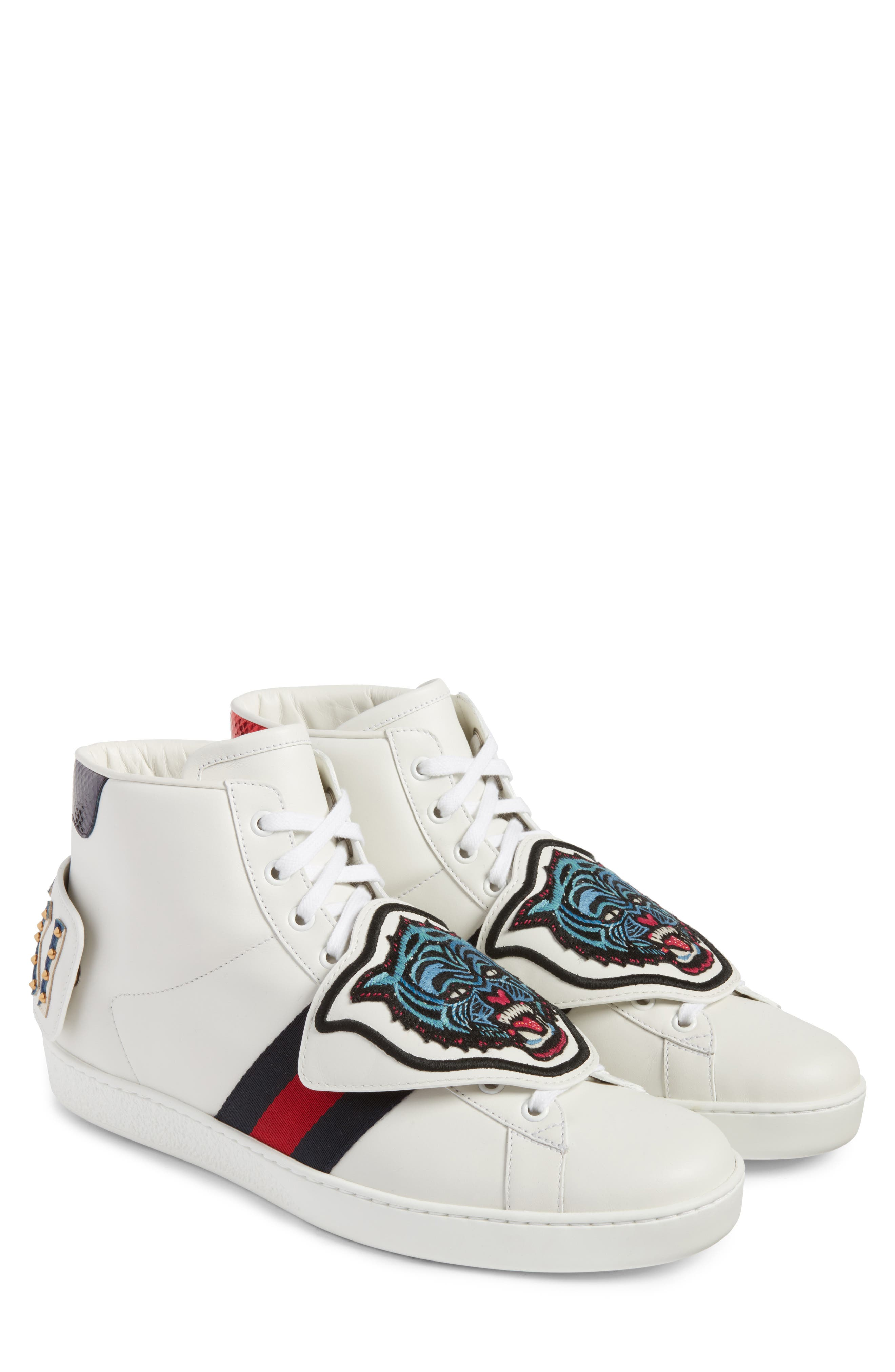 Gucci New Ace Jaguar Embroidered Patch High Top Sneaker (Men)