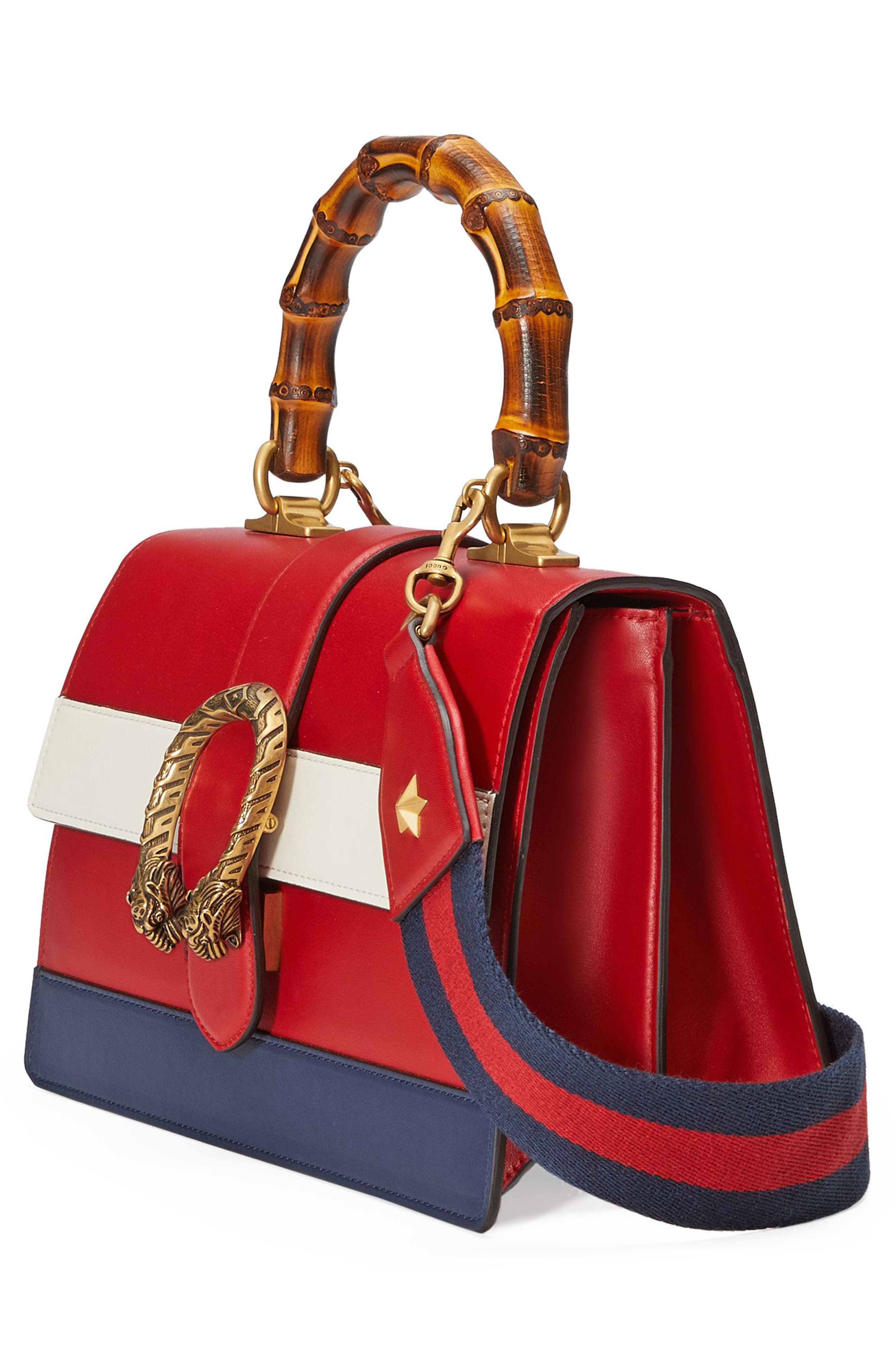 Small Dionysus Top Handle Leather Shoulder Bag,                             Alternate thumbnail 4, color,                             Red/ White/ Blue