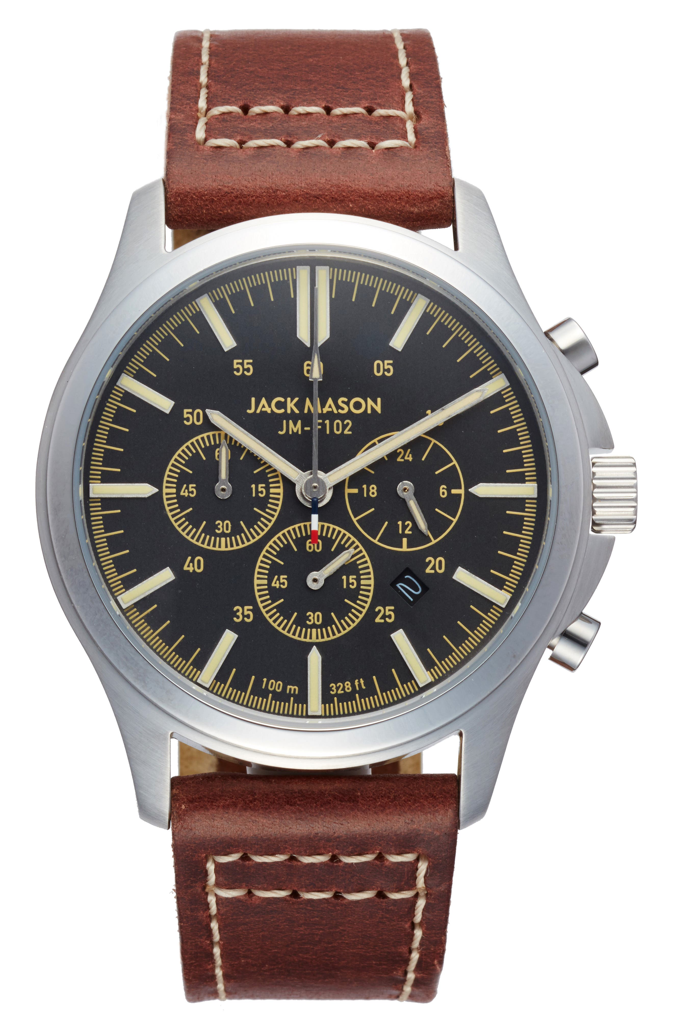 Field Chronograph Leather Strap Watch, 42mm,                         Main,                         color, Grey/ Brown