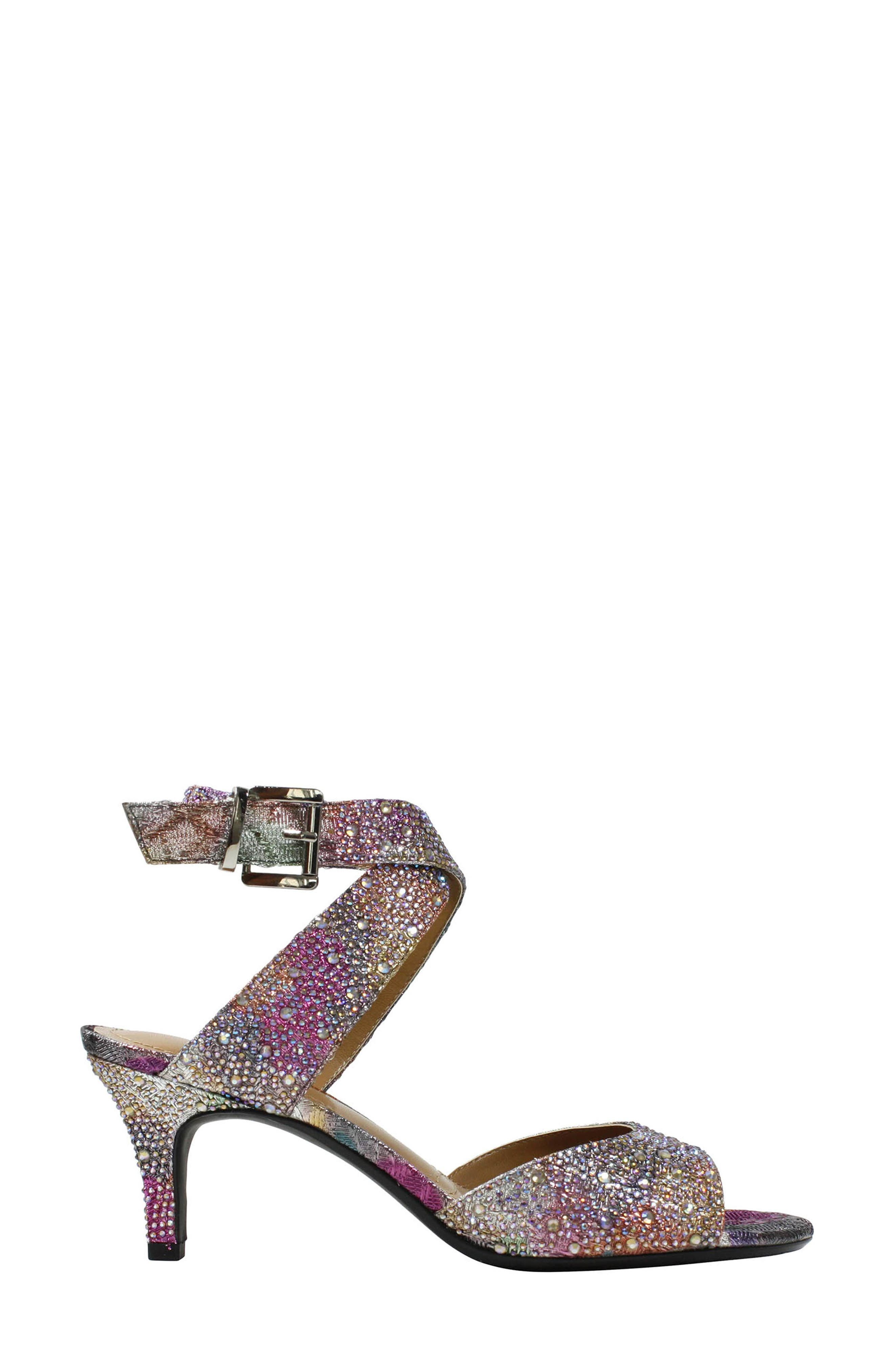 'Soncino' Ankle Strap Sandal,                             Alternate thumbnail 2, color,                             Silver/ Pastel Fabric