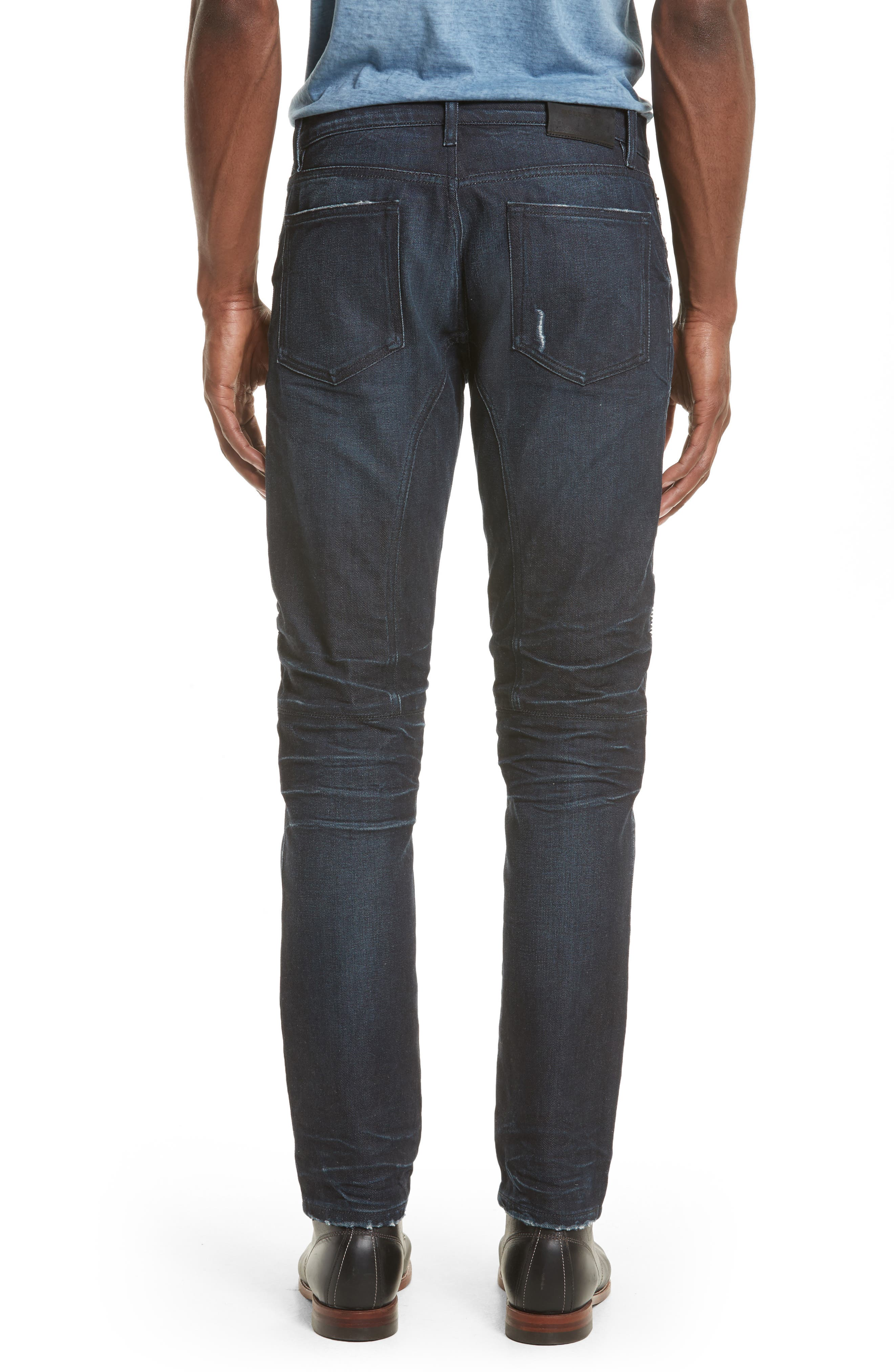Eastham Washed Moto Jeans,                             Alternate thumbnail 2, color,                             Faded Indigo Blue
