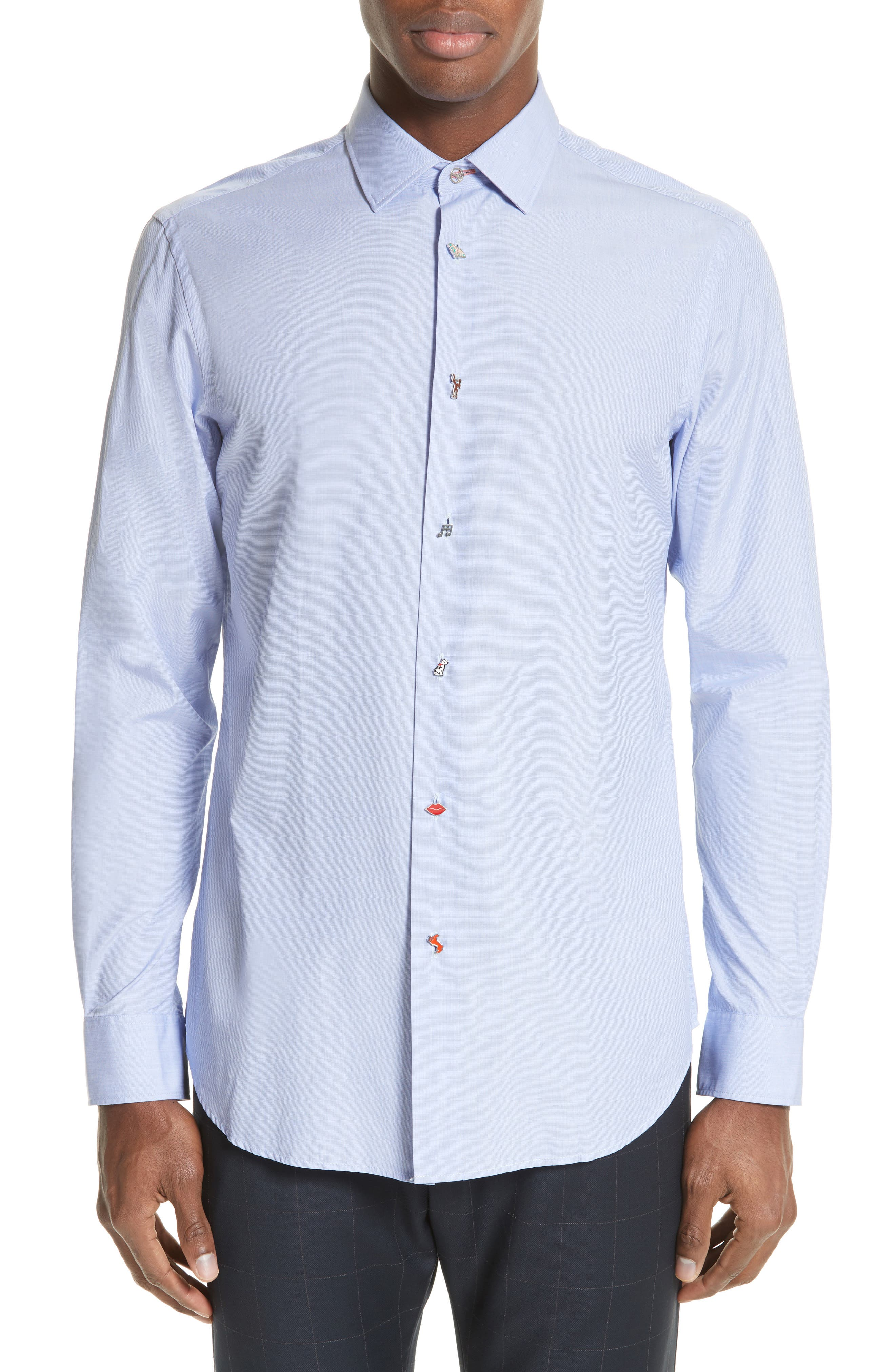 Charm Button Sport Shirt,                         Main,                         color, Chambray Blue