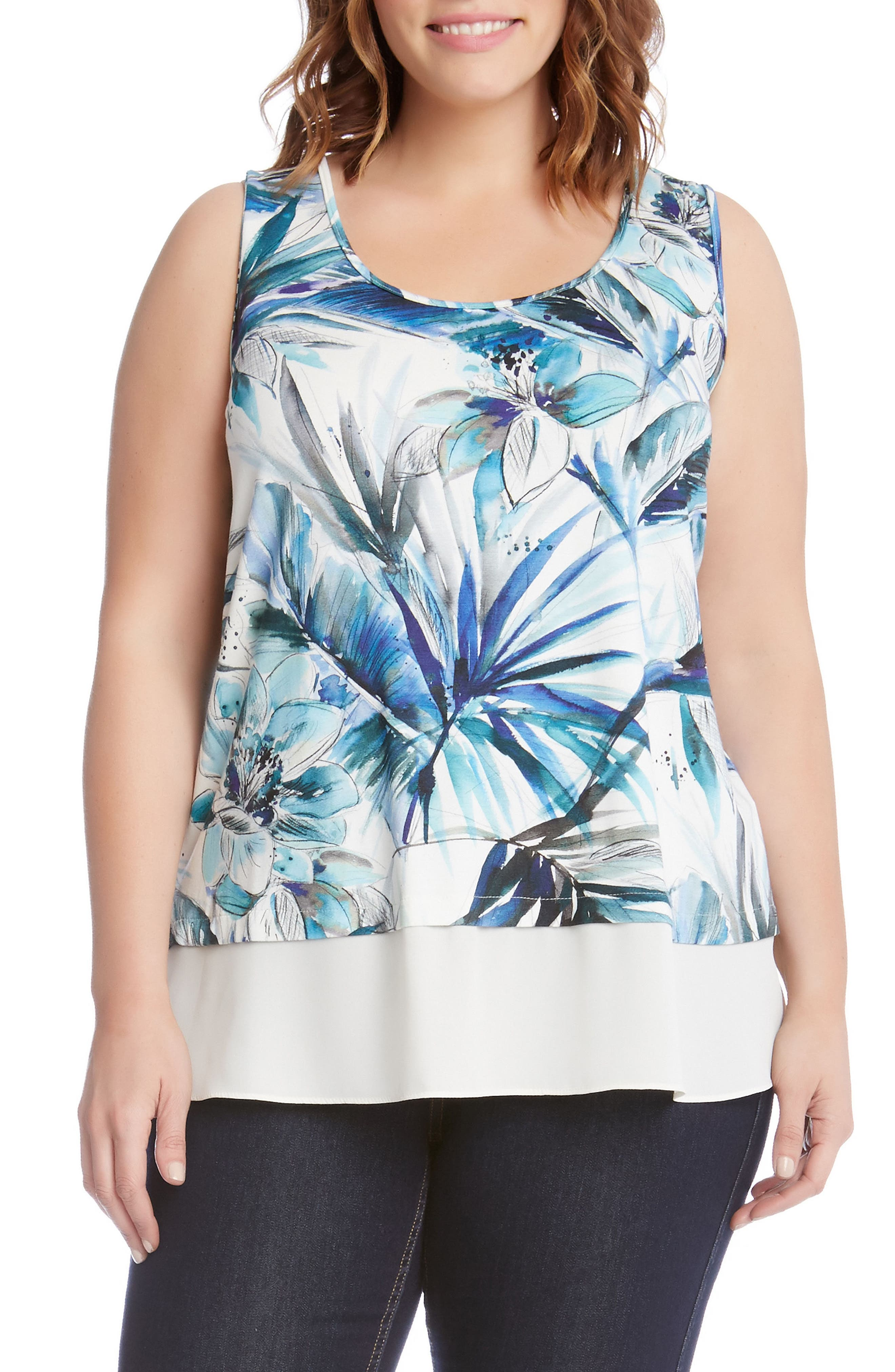 Karen Kane Tropical Print Sheer Hem Top (Plus Size)