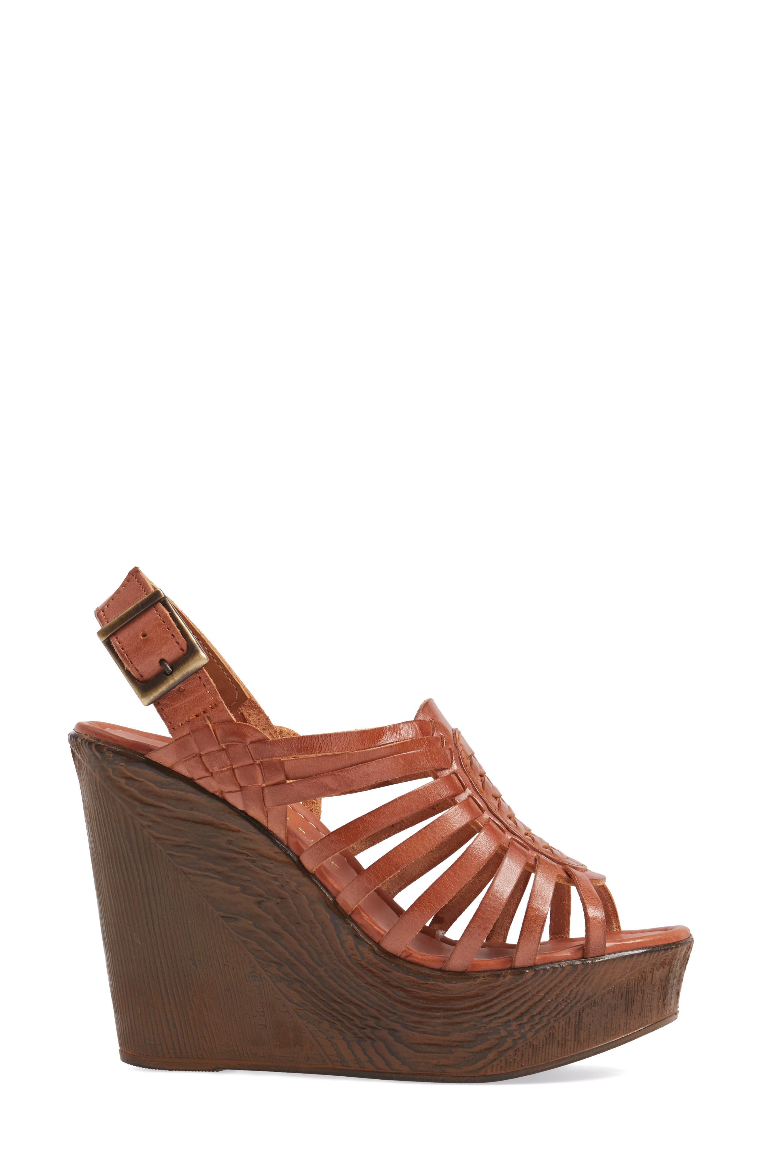 Prolific Wedge Sandal,                             Alternate thumbnail 3, color,                             Tan Leather