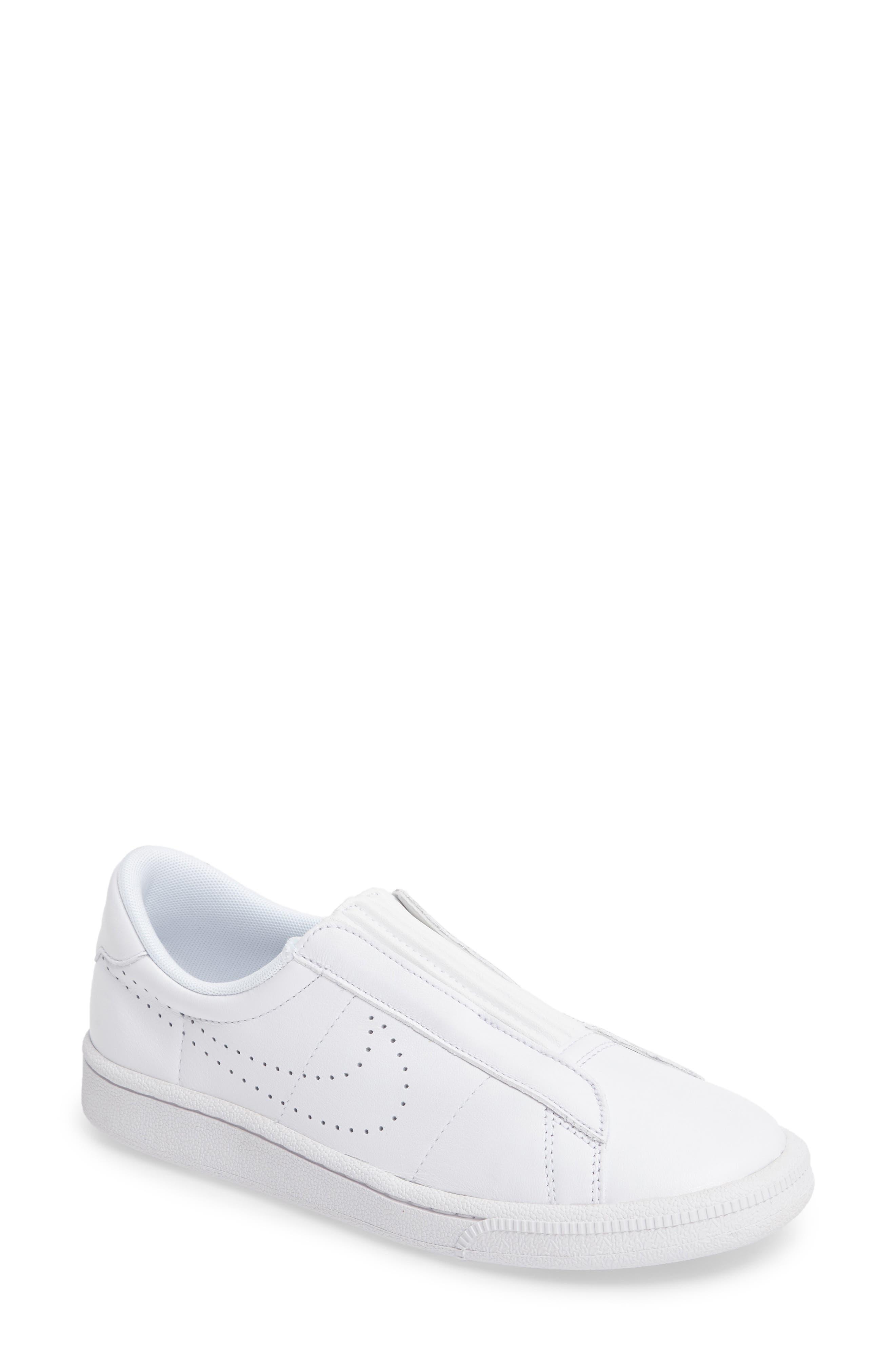 Classic EZ Slip-On Tennis Shoe,                             Main thumbnail 1, color,                             White/ White/ Black