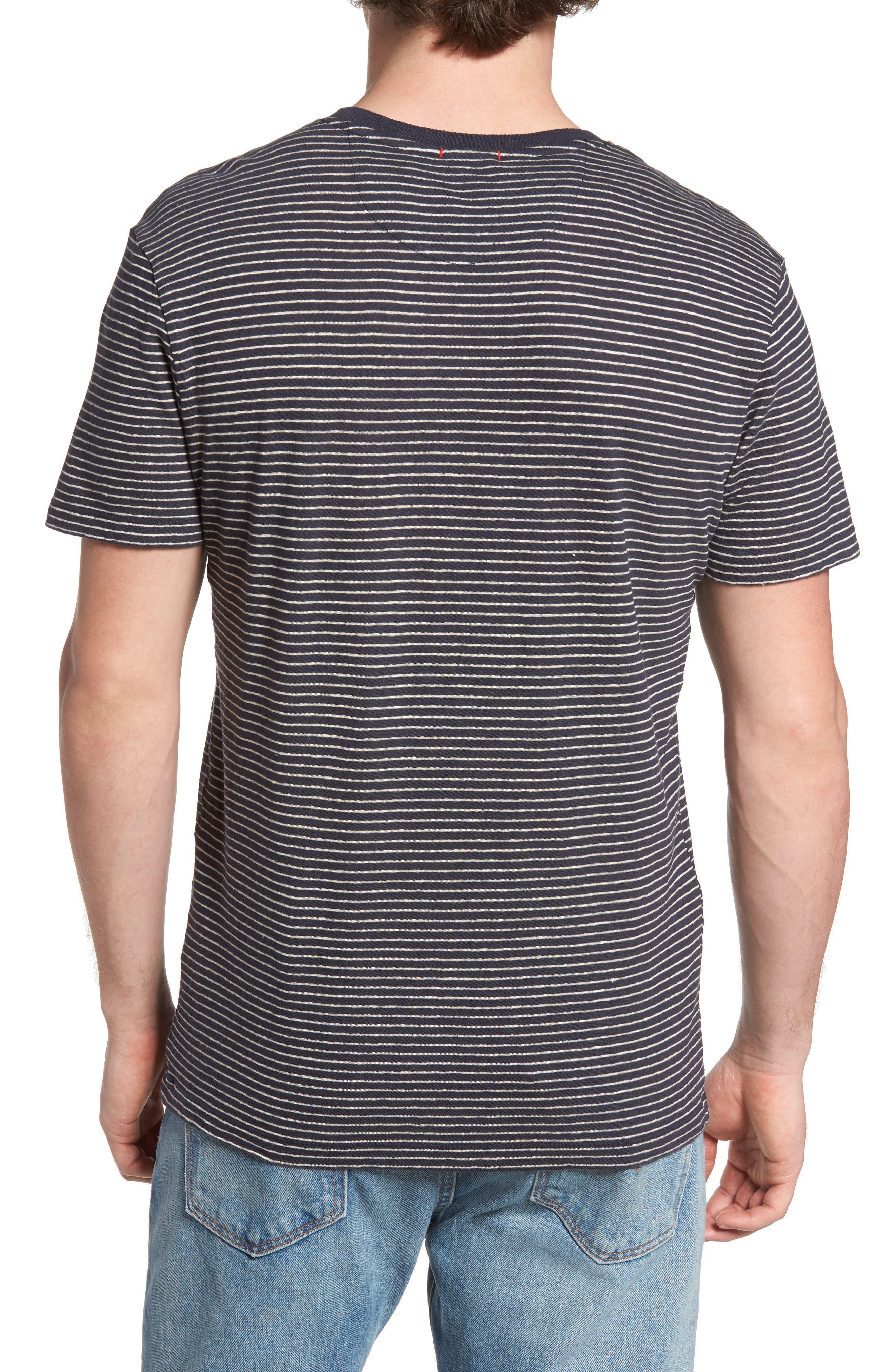 John Rich Stripe Cotton & Linen T-Shirt,                             Alternate thumbnail 2, color,                             Dark Navy Stripe B