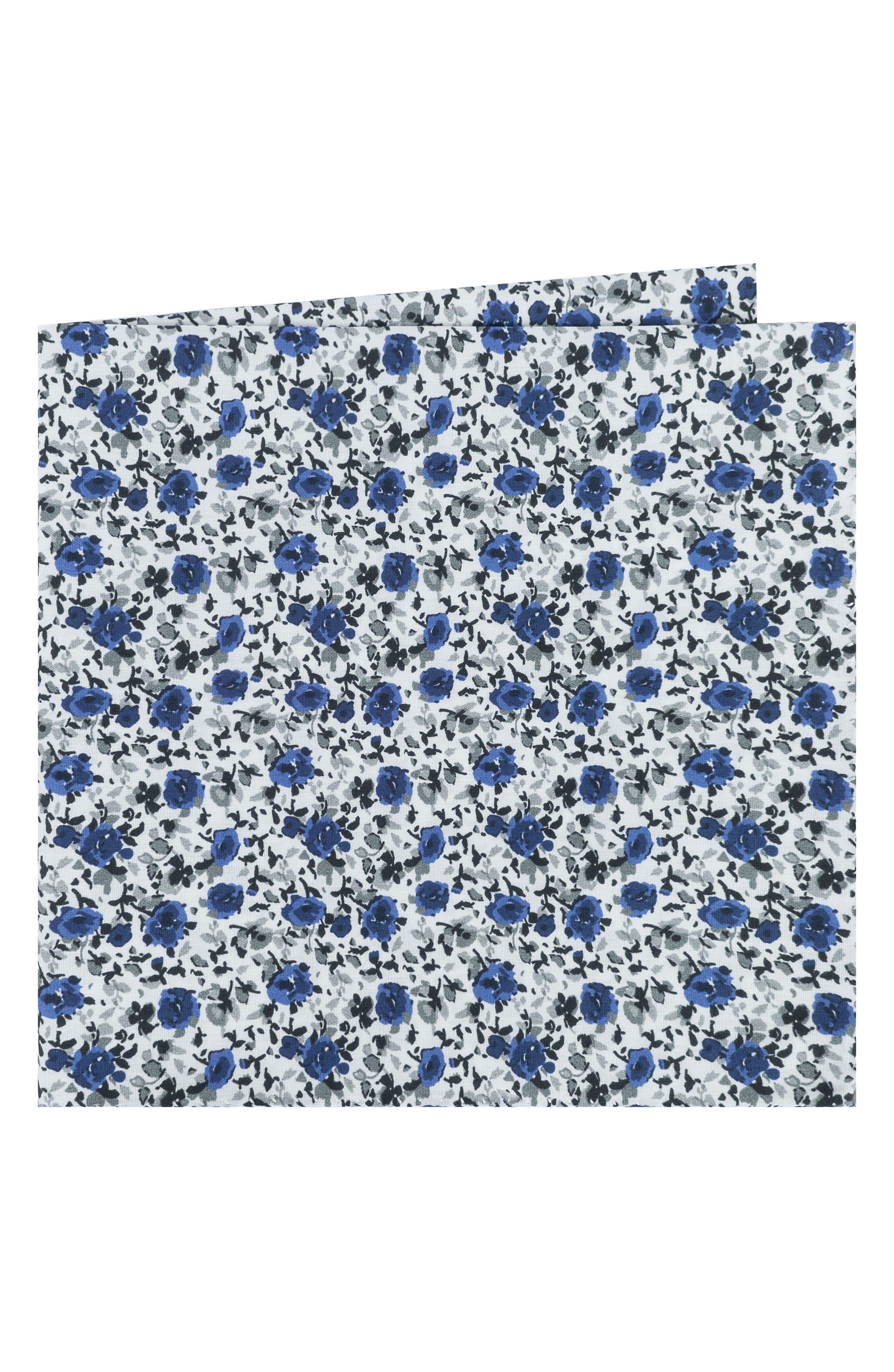 Floral Cotton Pocket Square,                         Main,                         color, Grey/ Blue