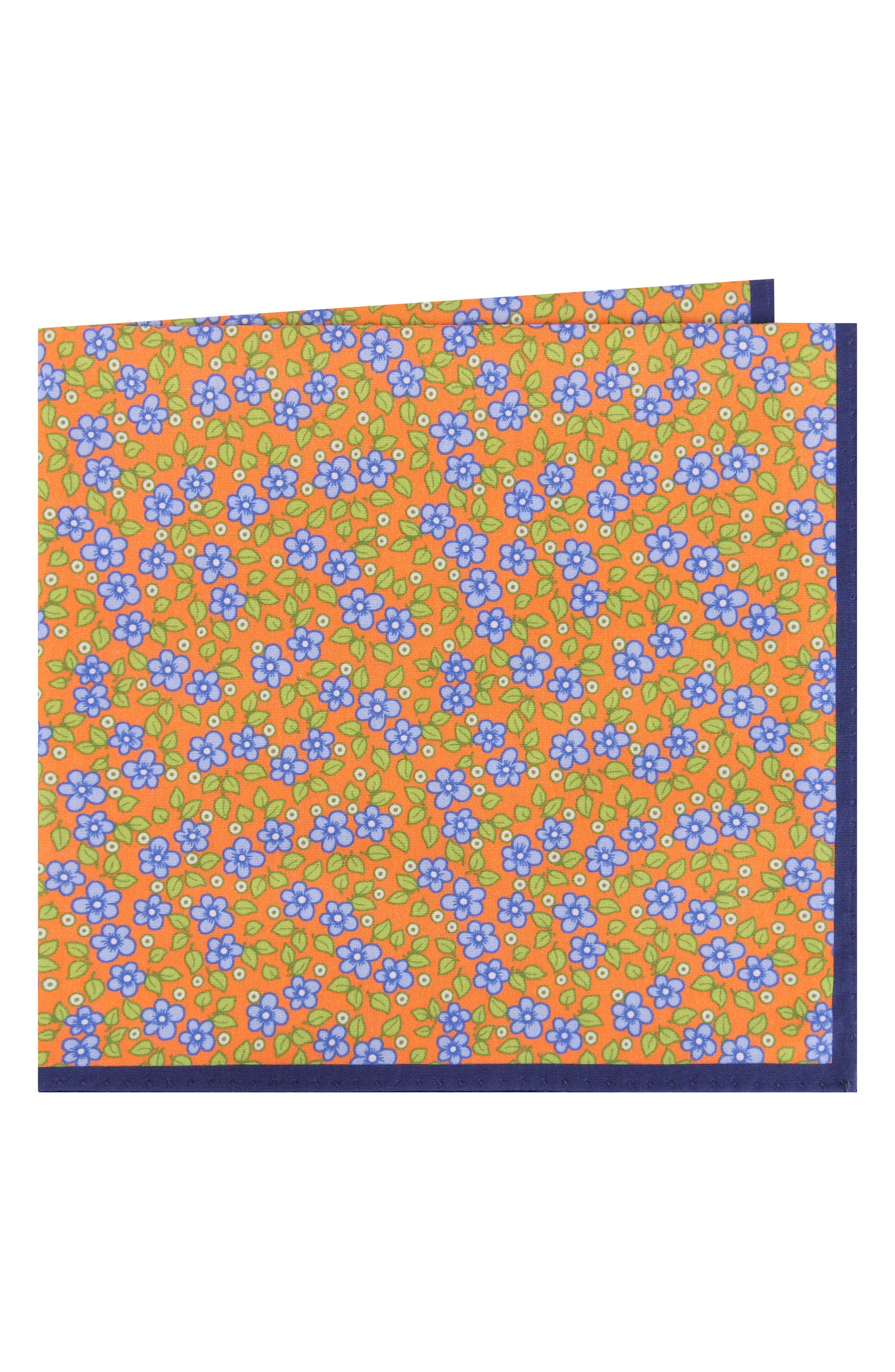 Carnaby Floral Cotton Pocket Square,                         Main,                         color, Orange