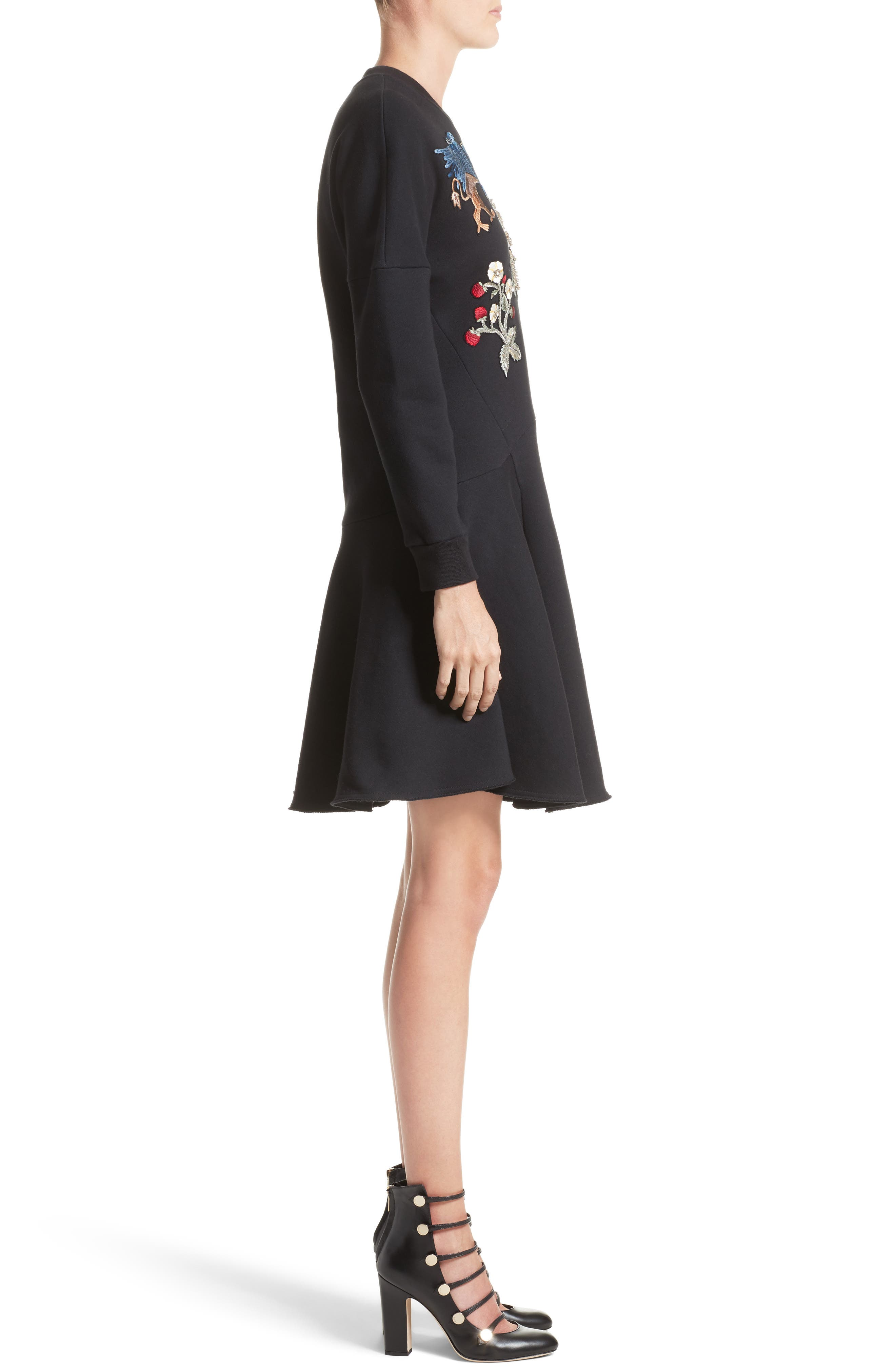 Embroidered Sweatshirt Dress,                             Alternate thumbnail 6, color,                             Black