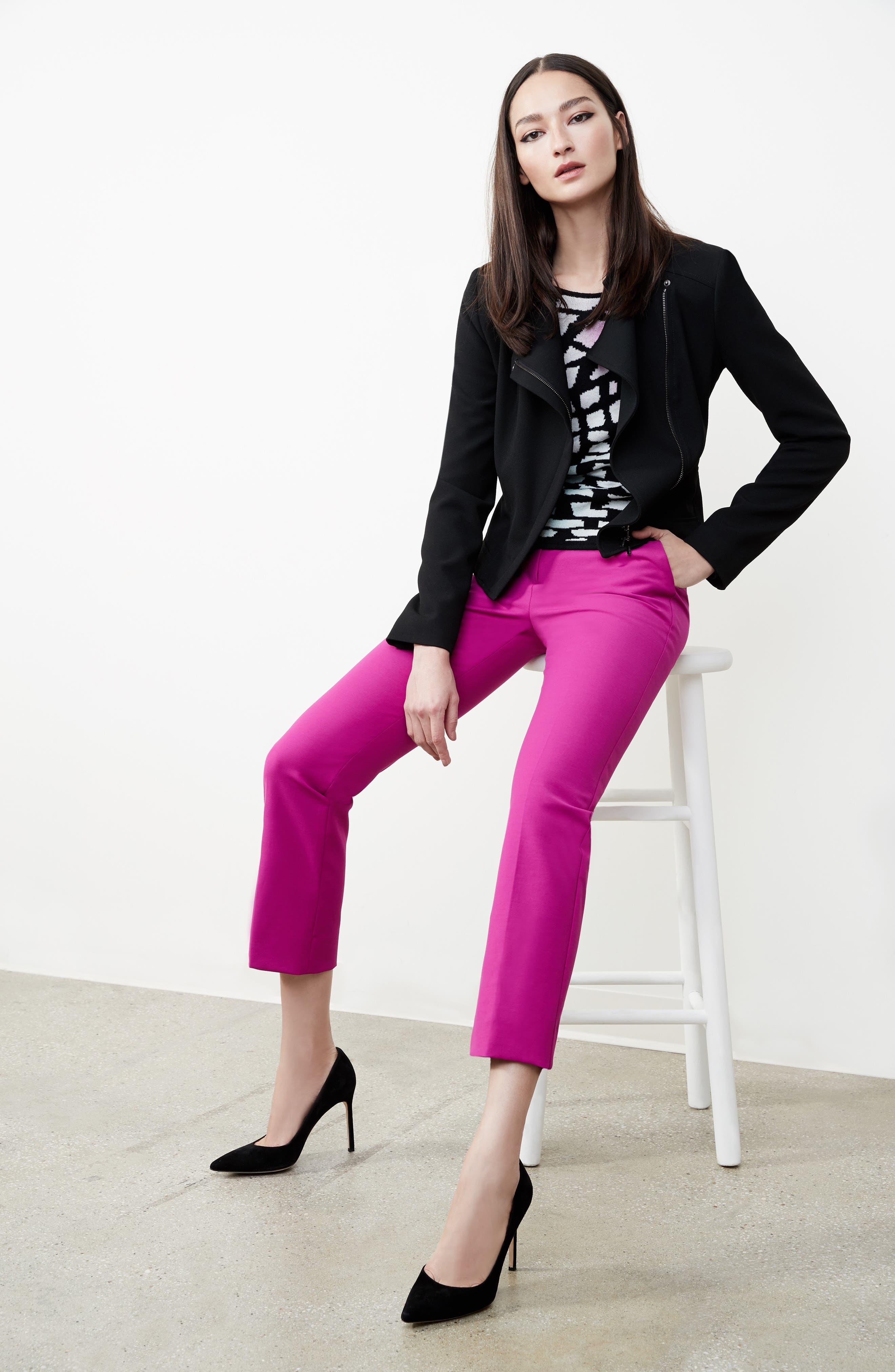 Armani Jeans Crepe Moto Jacket,                             Alternate thumbnail 8, color,                             Black