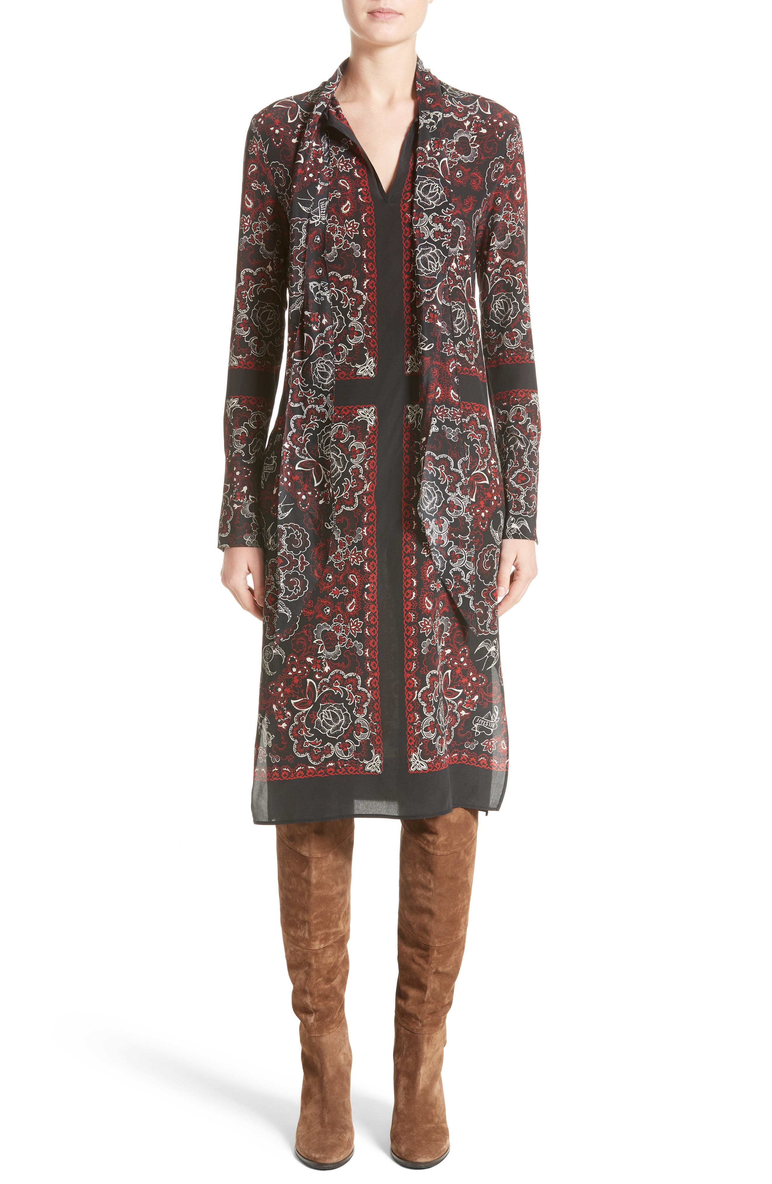 Belstaff Luella Print Silk Tie Neck Dress