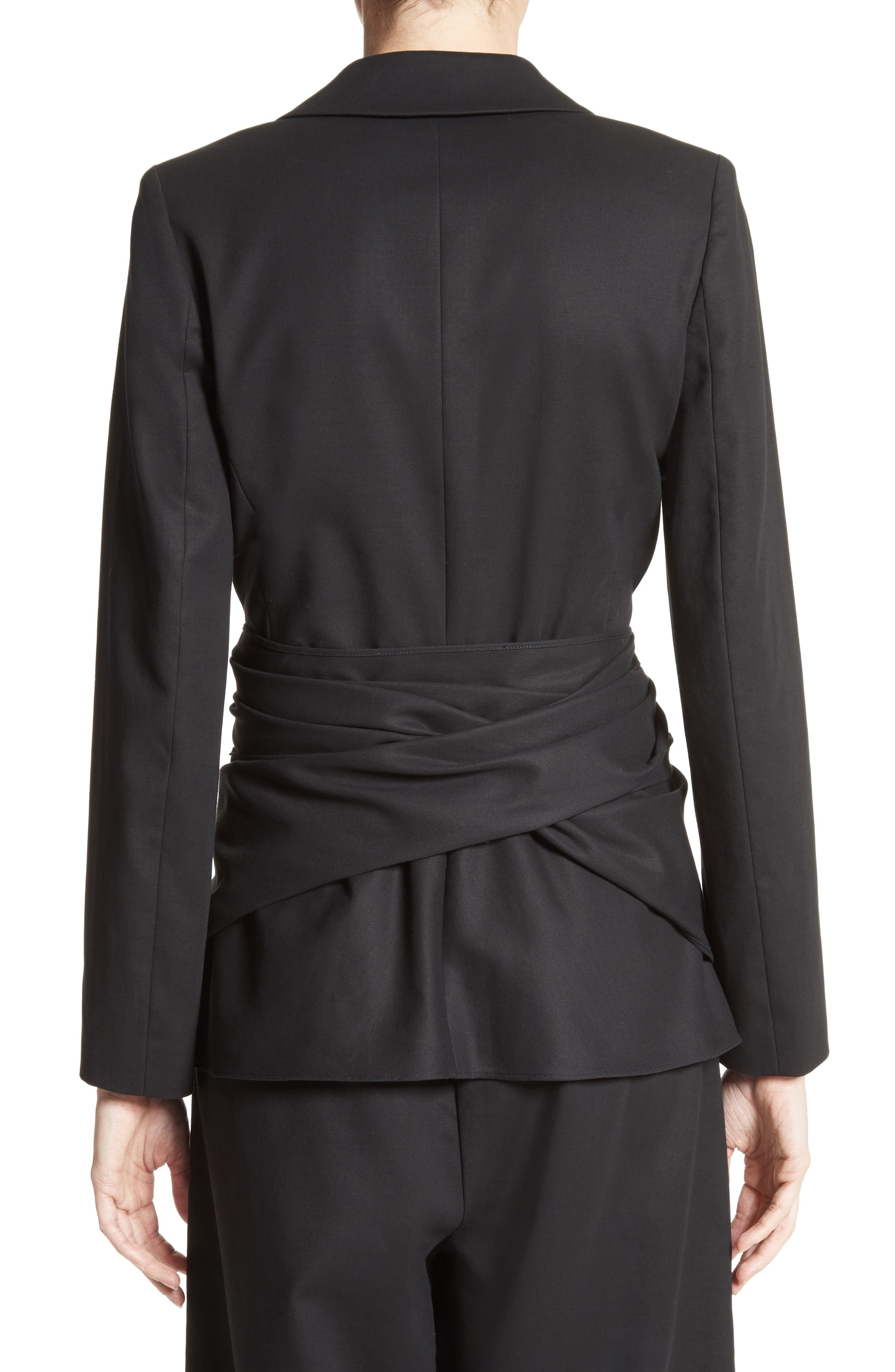 Cotton Gabardine Wrap Blazer,                             Alternate thumbnail 2, color,                             Black