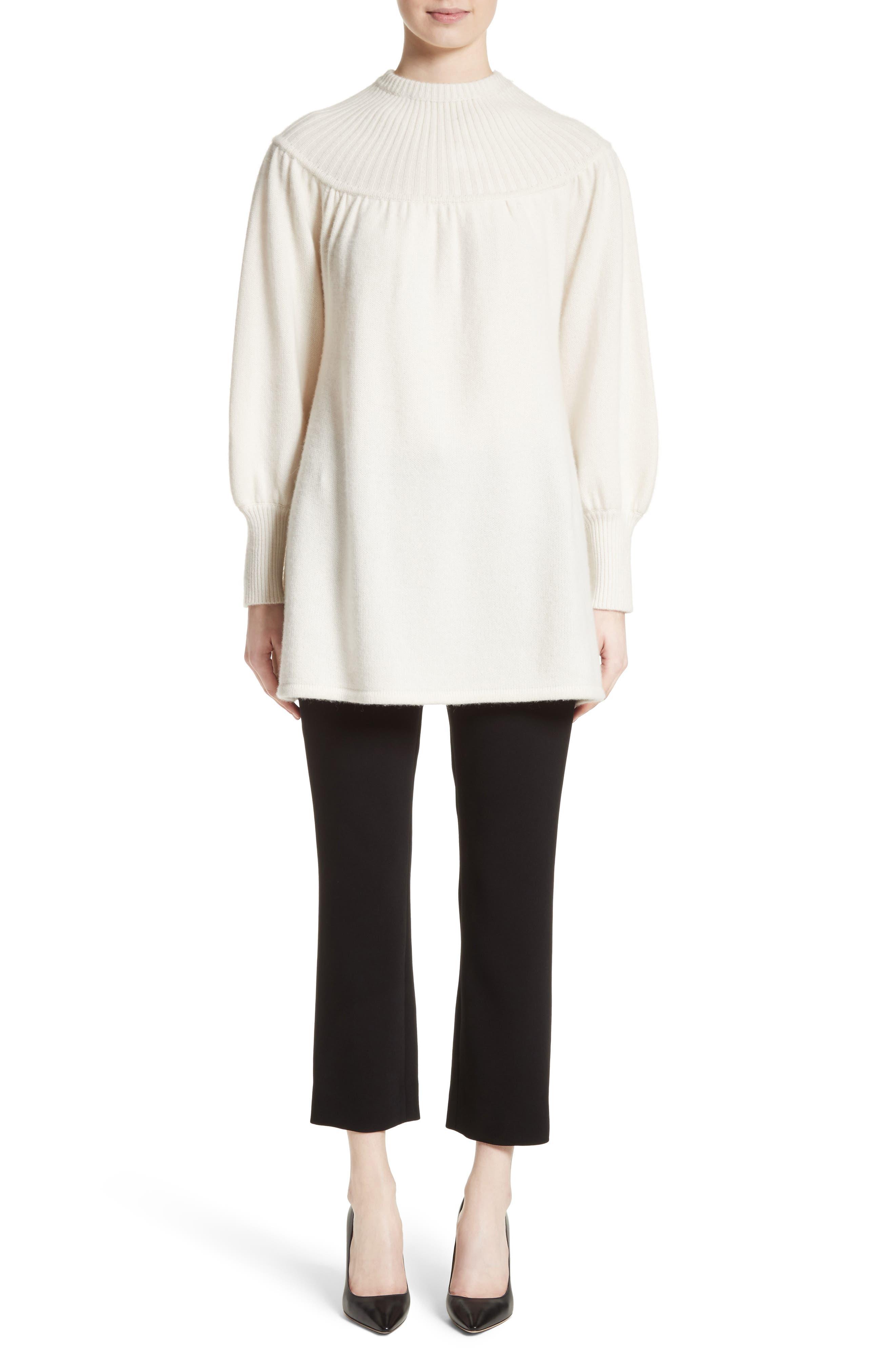Rib Knit Cashmere Tunic Sweater,                             Alternate thumbnail 7, color,                             Ivory