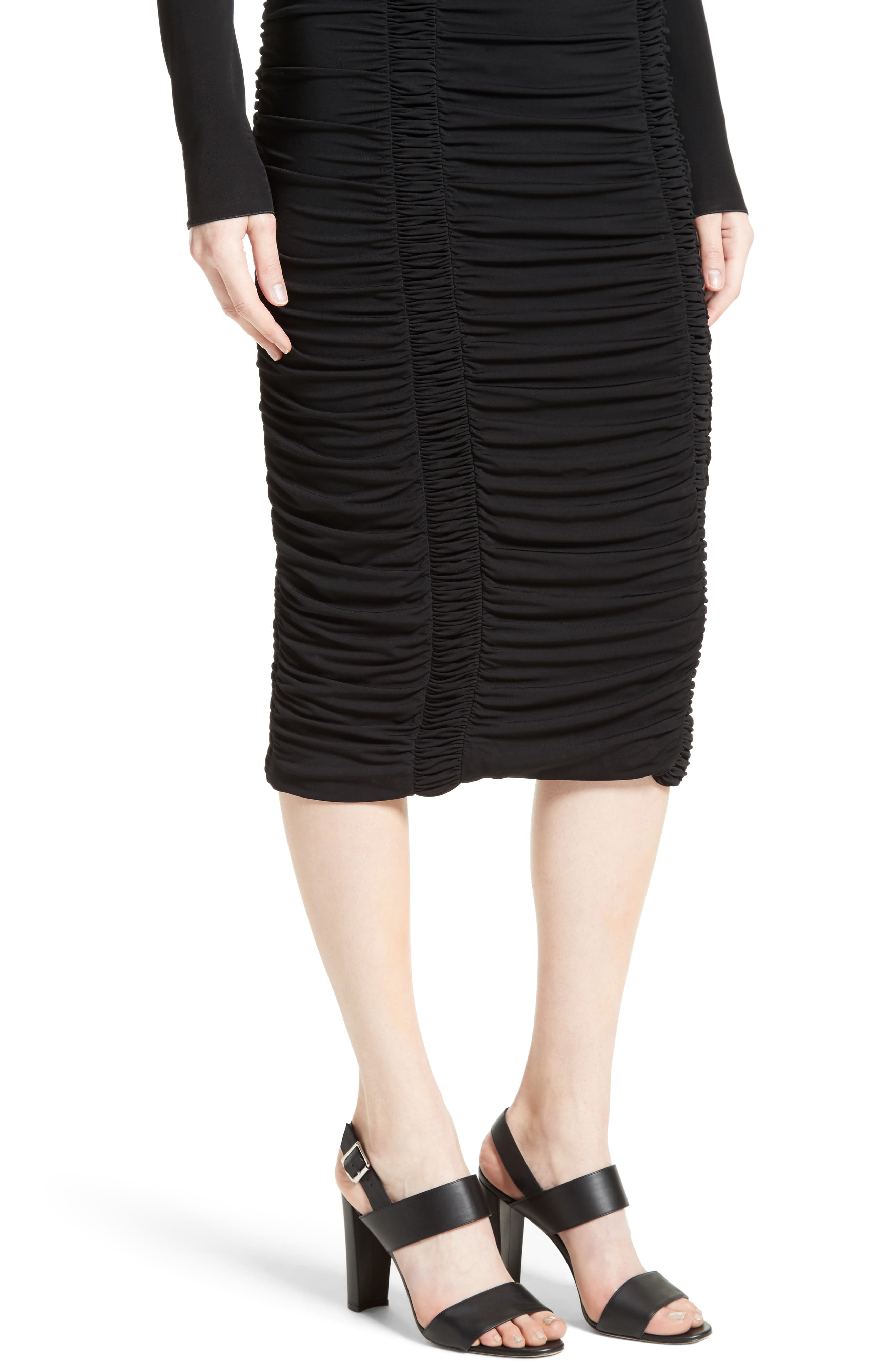 Ruched Stretch Jersey Dress,                             Alternate thumbnail 6, color,                             Black
