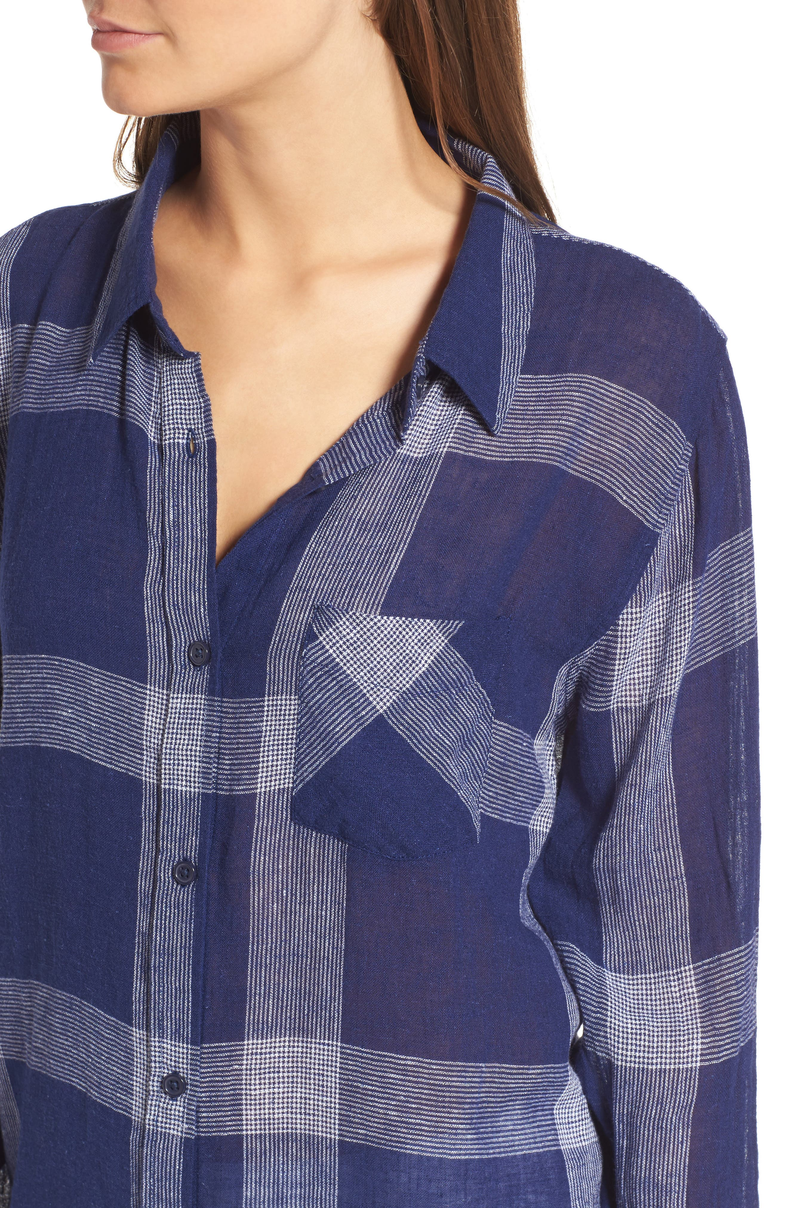 Charli Plaid Shirt,                             Alternate thumbnail 4, color,                             Patriot/ White