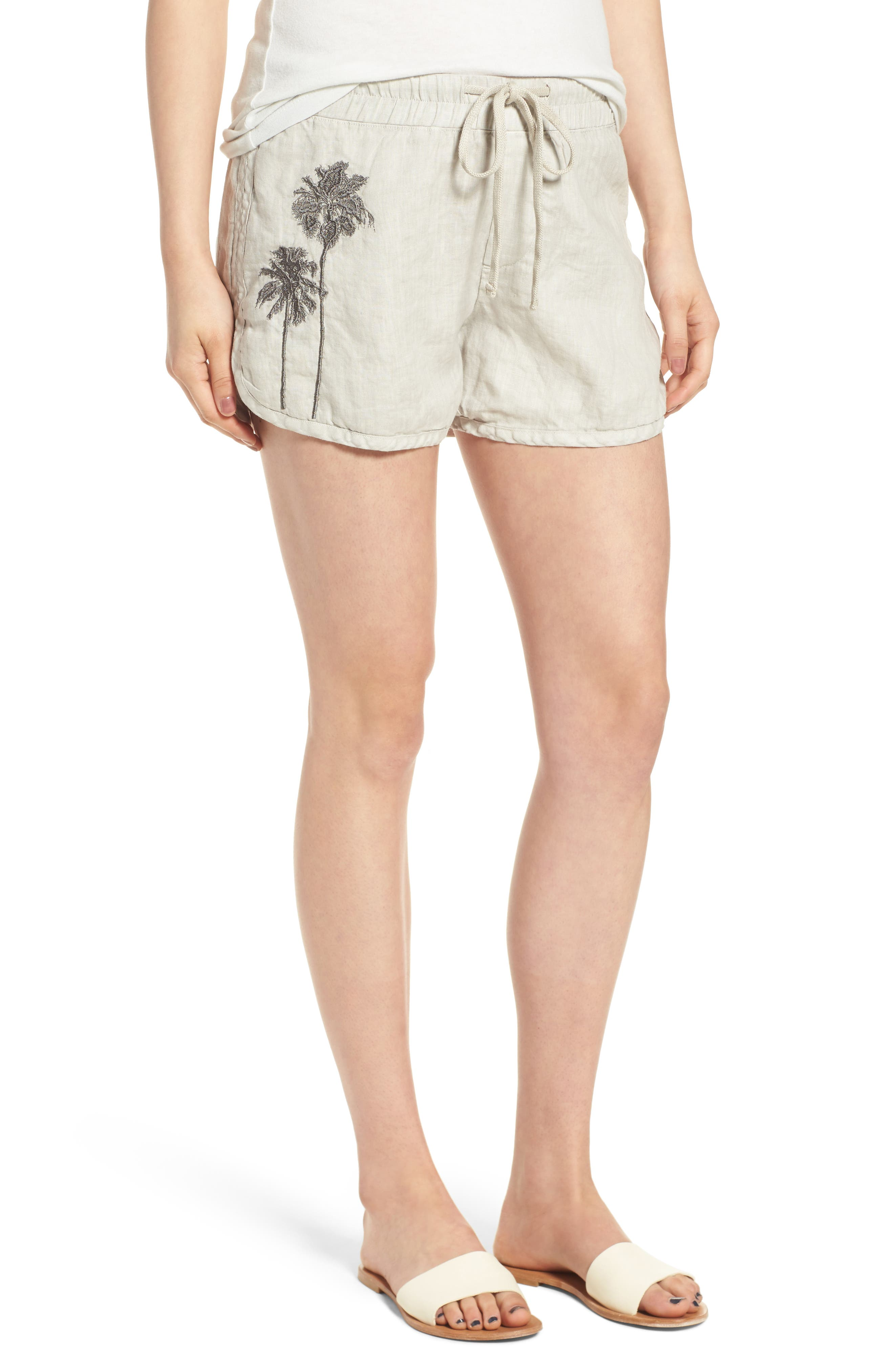 James Perse Embroidered Drawstring Shorts