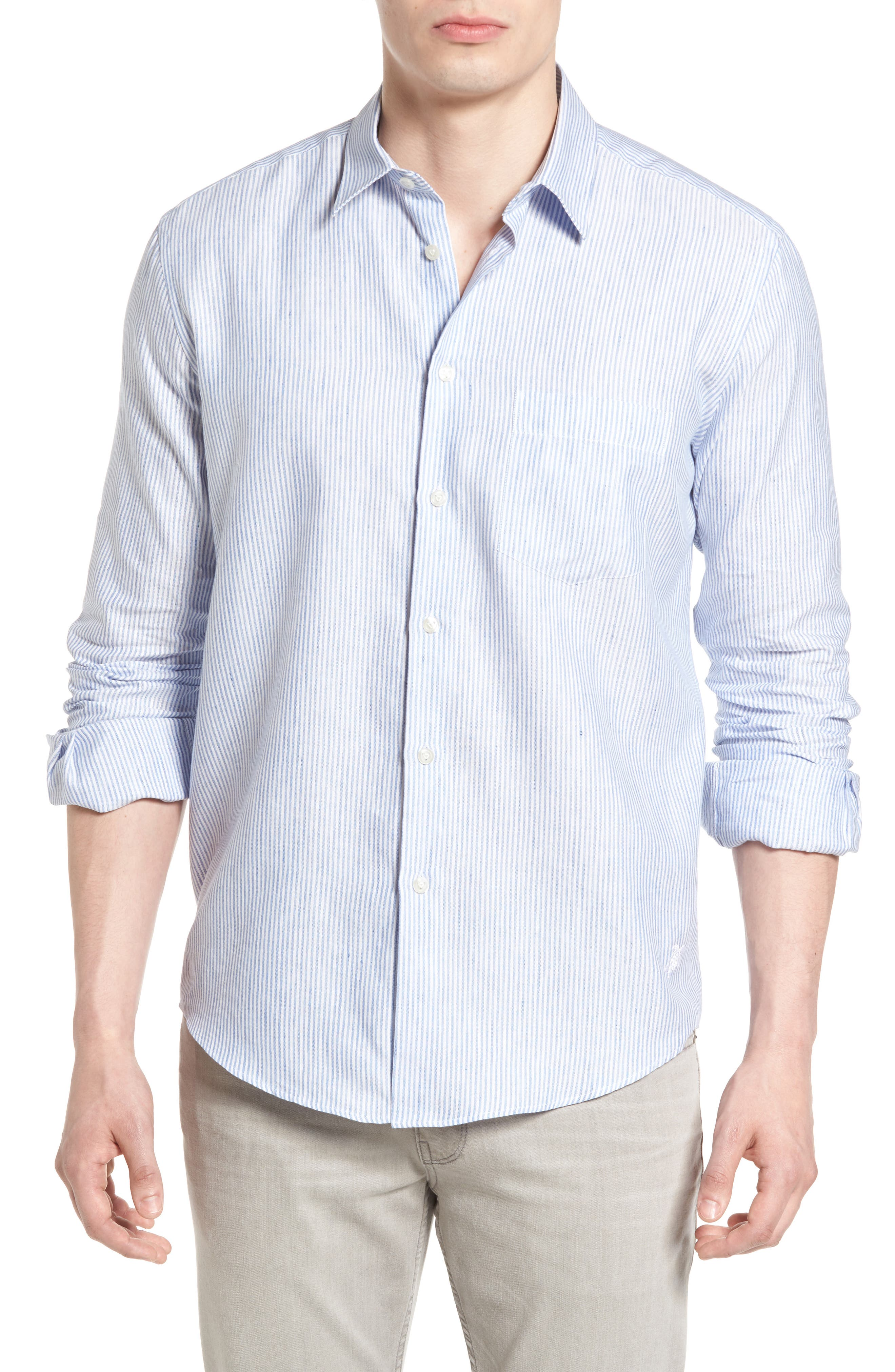 Stripe Linen Blend Sport Shirt,                             Main thumbnail 1, color,                             Sky Blue