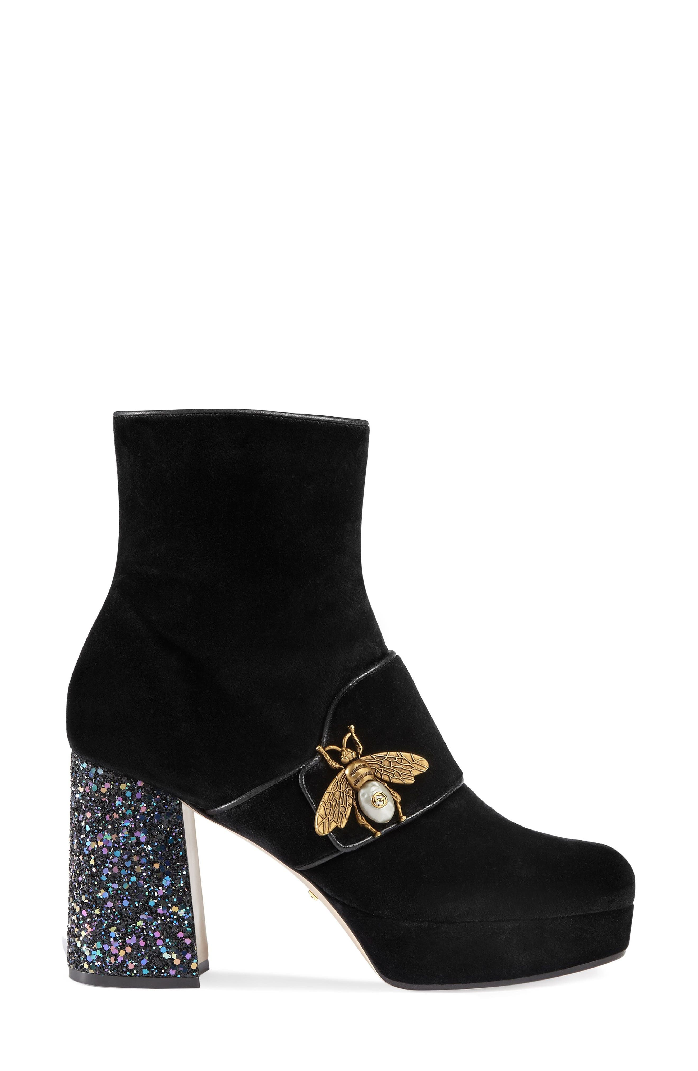 Alternate Image 1 Selected - Gucci Soko Glitter Bee Bootie (Women)