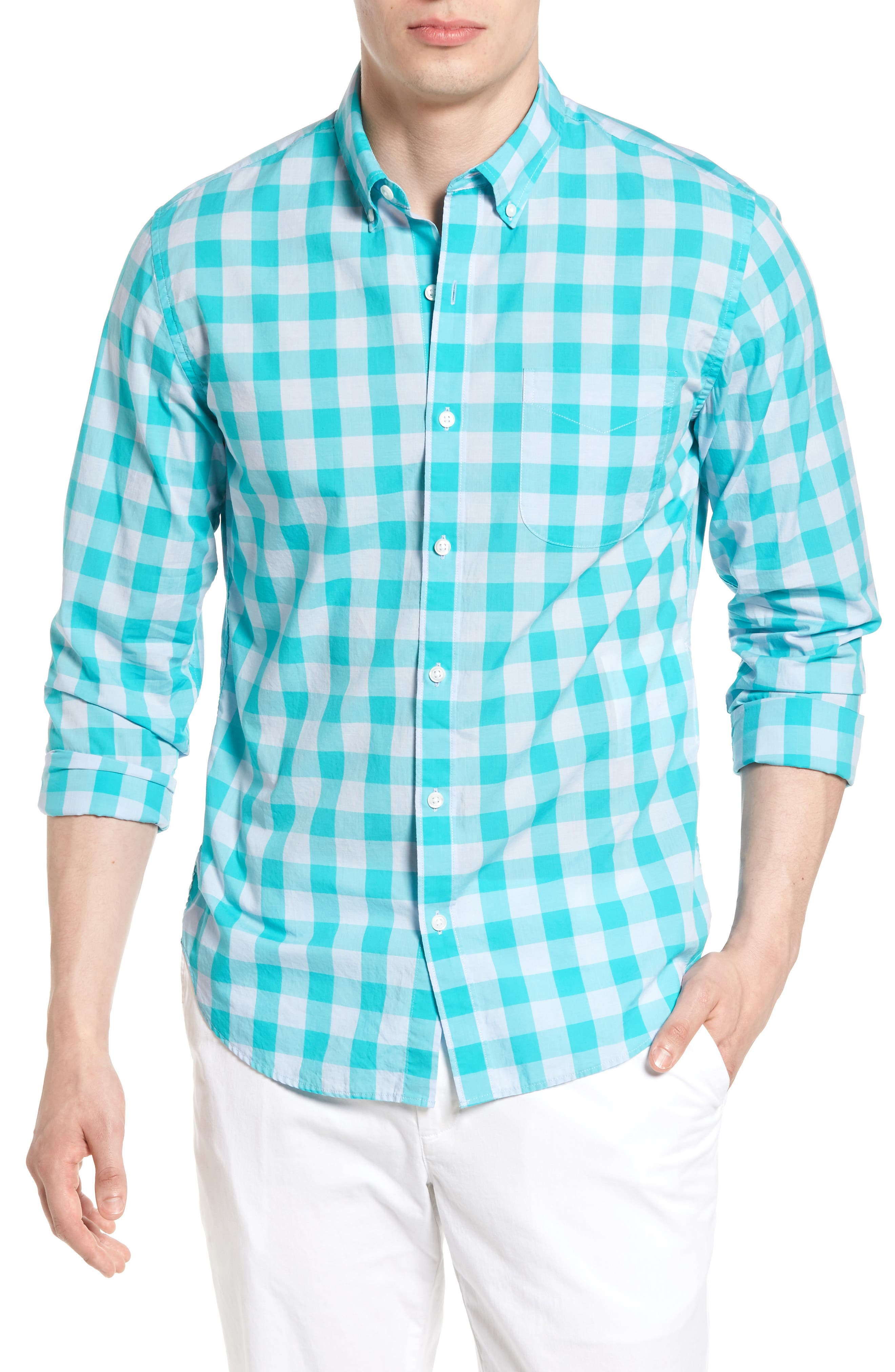 Slim Fit Summerweight Check Sport Shirt,                         Main,                         color, Turquios Gingham