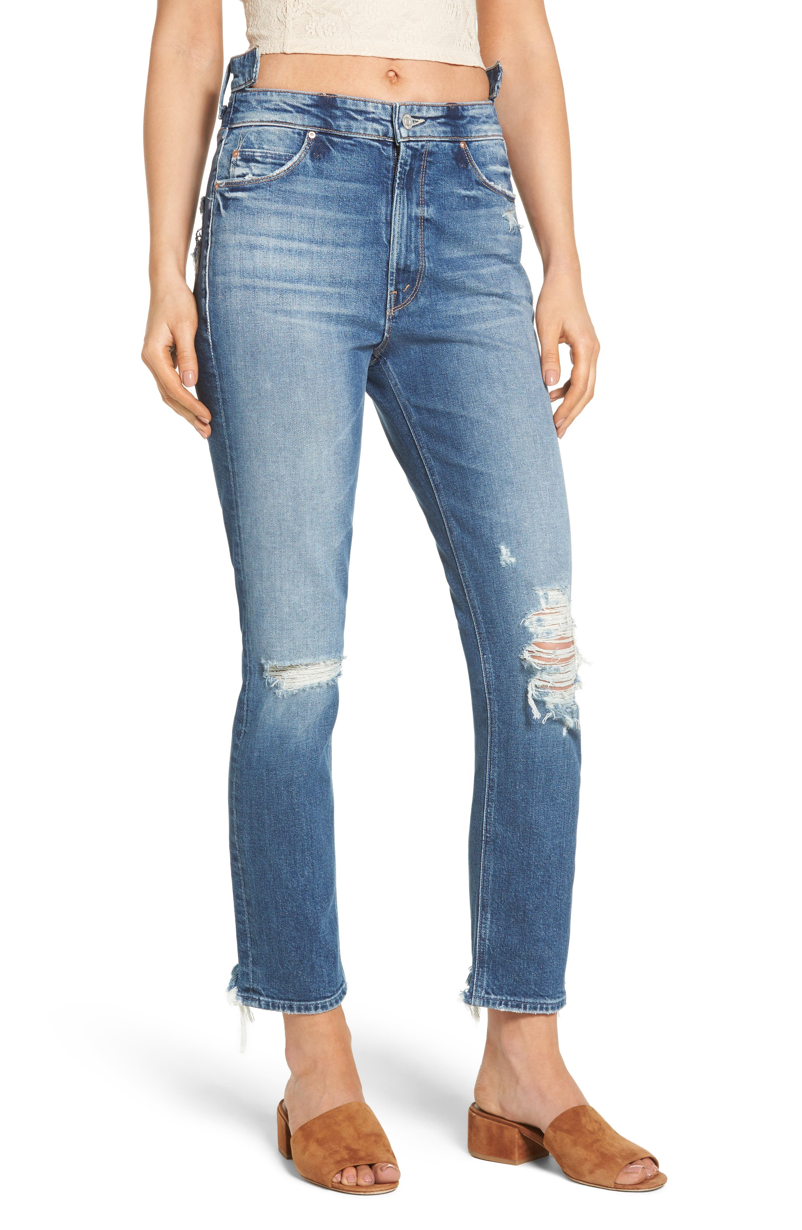 MOTHER Dazzler Shift Step Waistband Jeans (Your Treat or Mine)