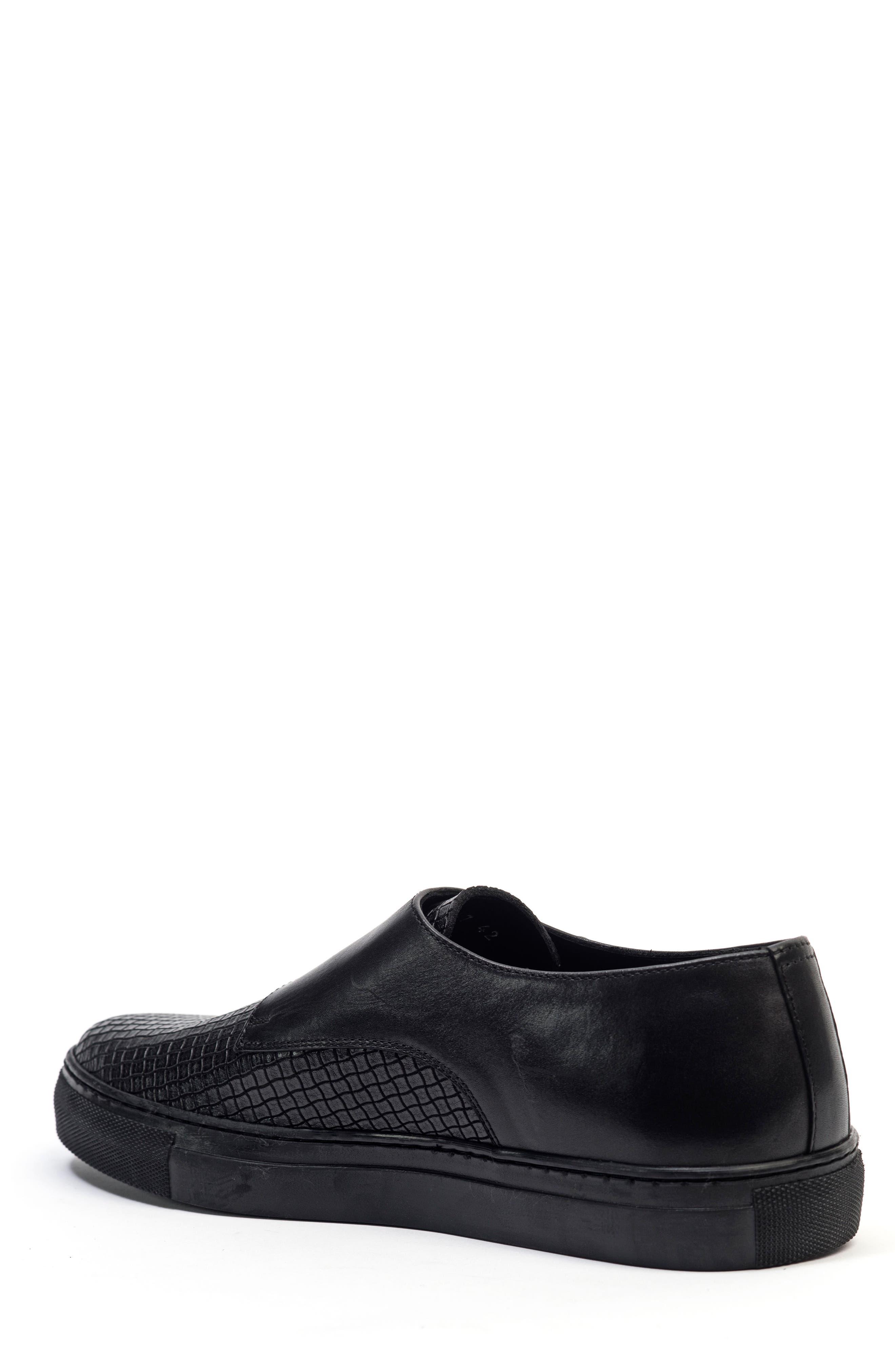 Embossed Monk Strap Sneaker,                             Alternate thumbnail 2, color,                             Black