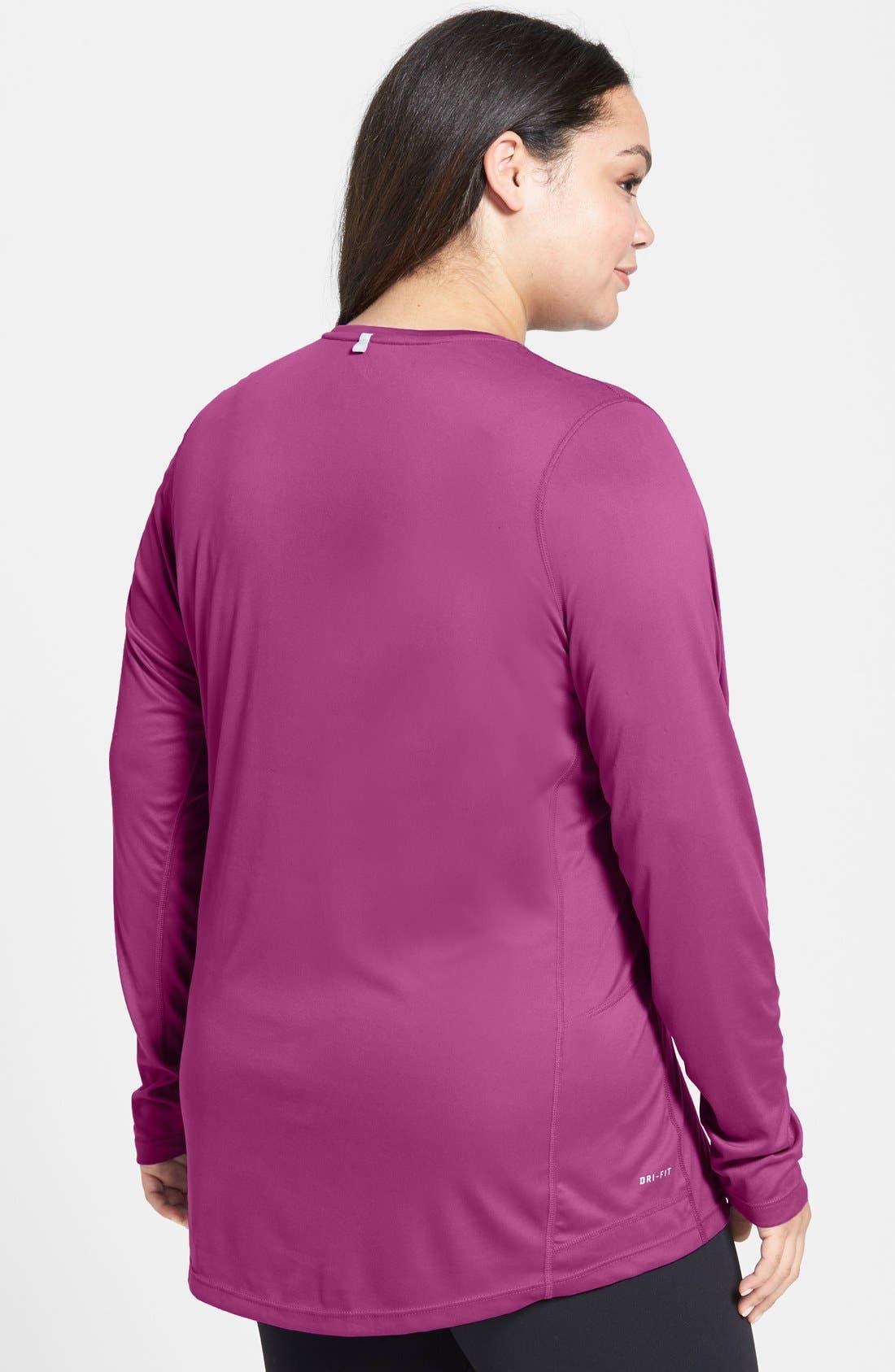 Alternate Image 2  - Nike 'Miler' Long Sleeve Dri-FIT Tee (Plus Size)