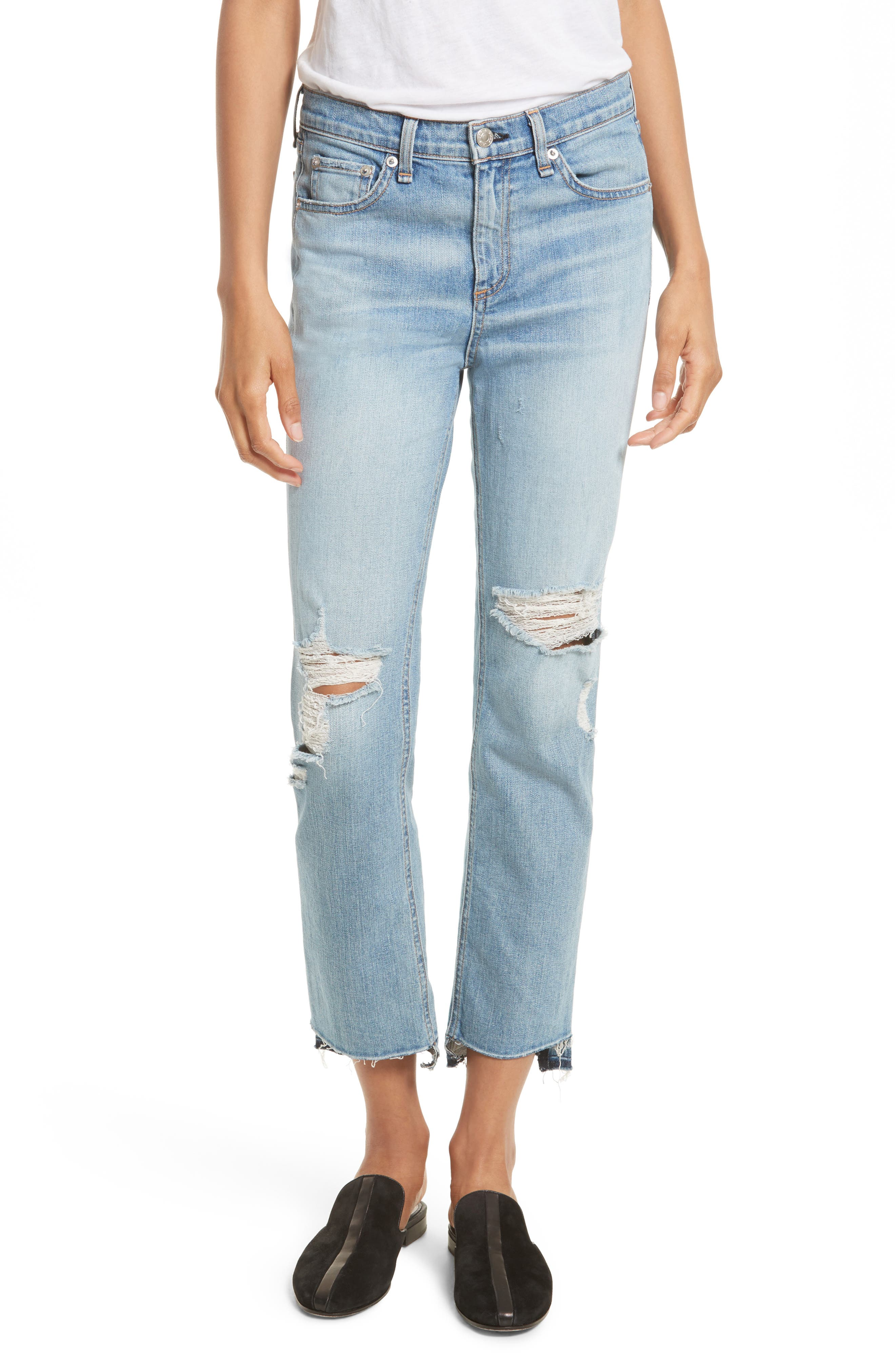 RAG & BONE/JEAN High Waist Step Hem Stove Pipe Jeans