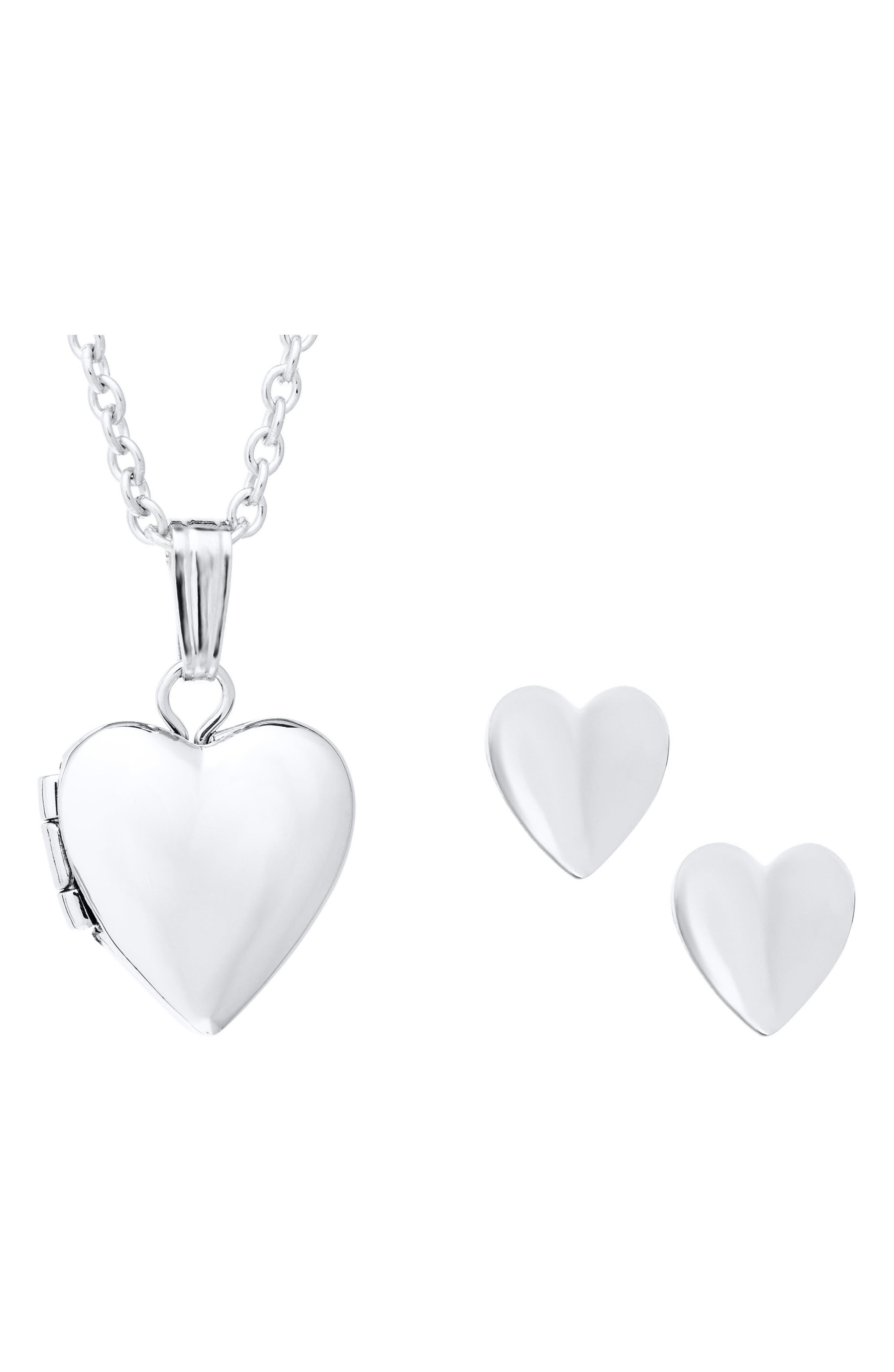 Alternate Image 2  - Mignonette Sterling Silver Heart Locket Necklace & Earrings Set (Girls)
