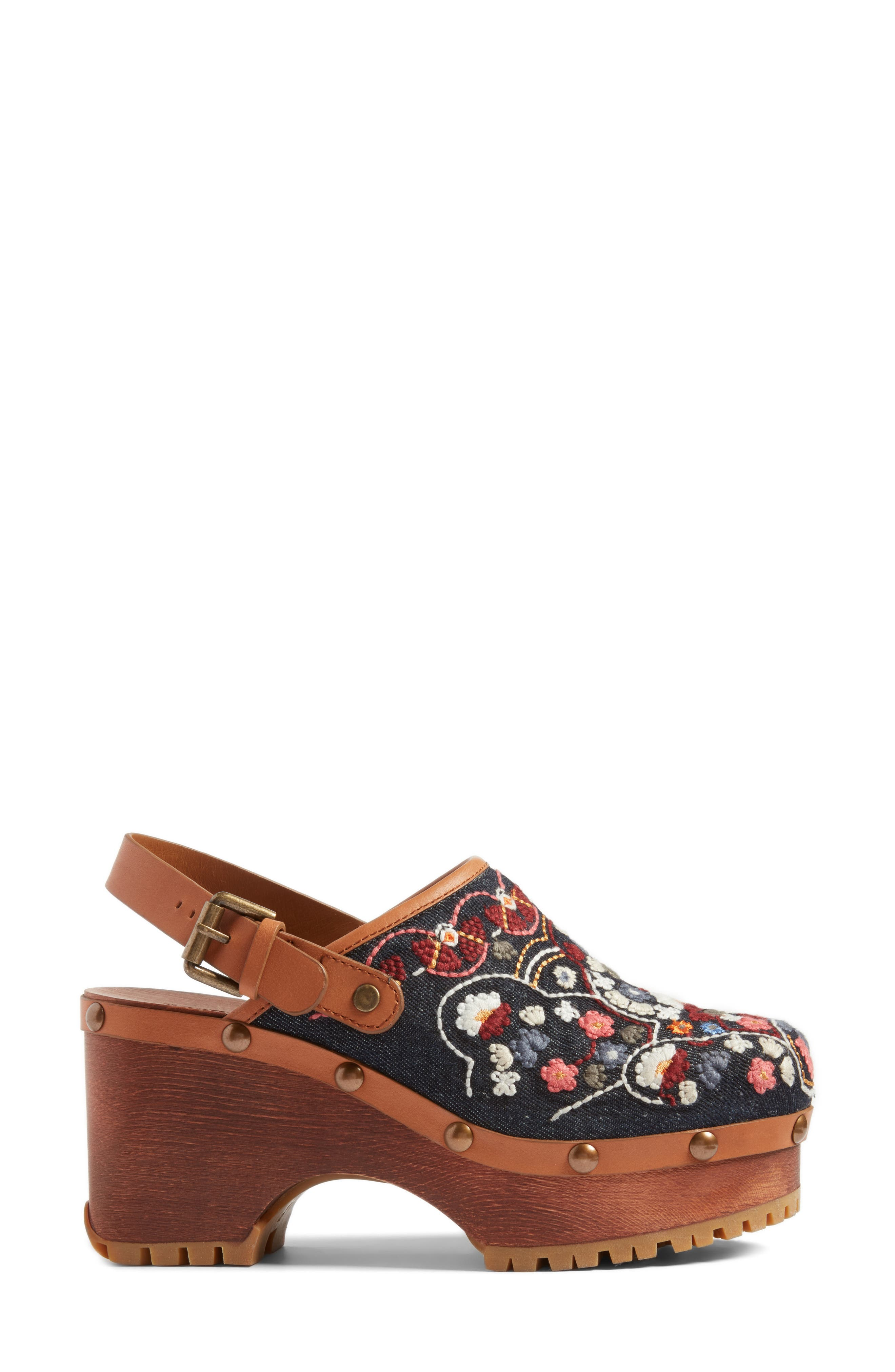 Tasha Embroidered Clog,                             Alternate thumbnail 3, color,                             Denim/ Multi