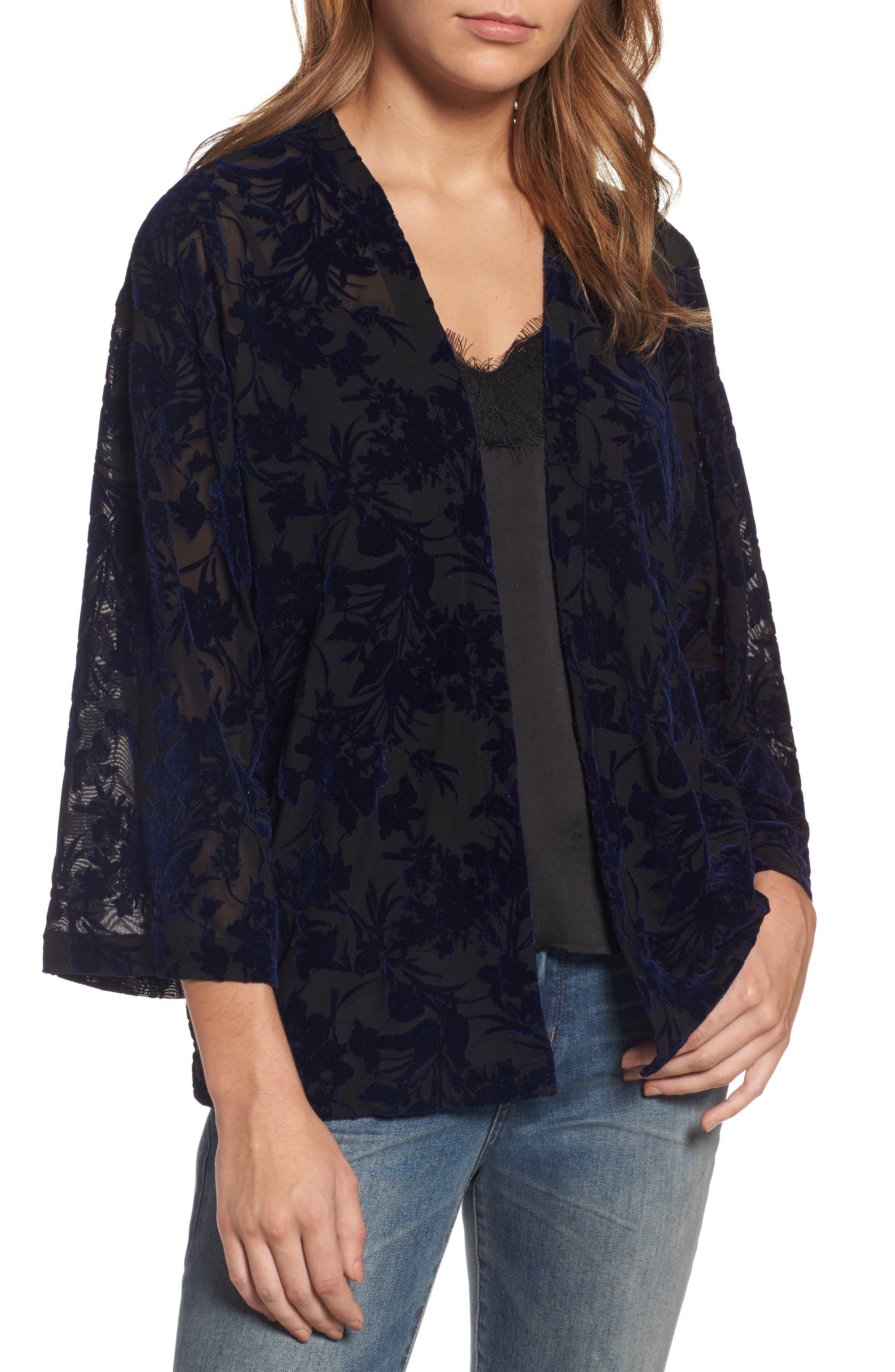Hinge Burnout Velvet Kimono Jacket